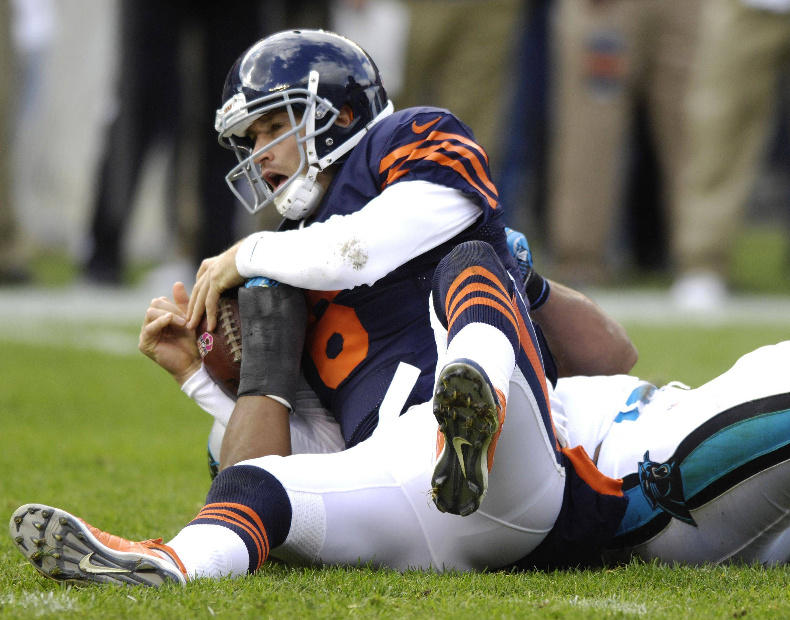 Jay Cutler, after getting sacked six times in the first half Sunday, was able to help the offense make the necessary adjustments in time to escape with a victory.