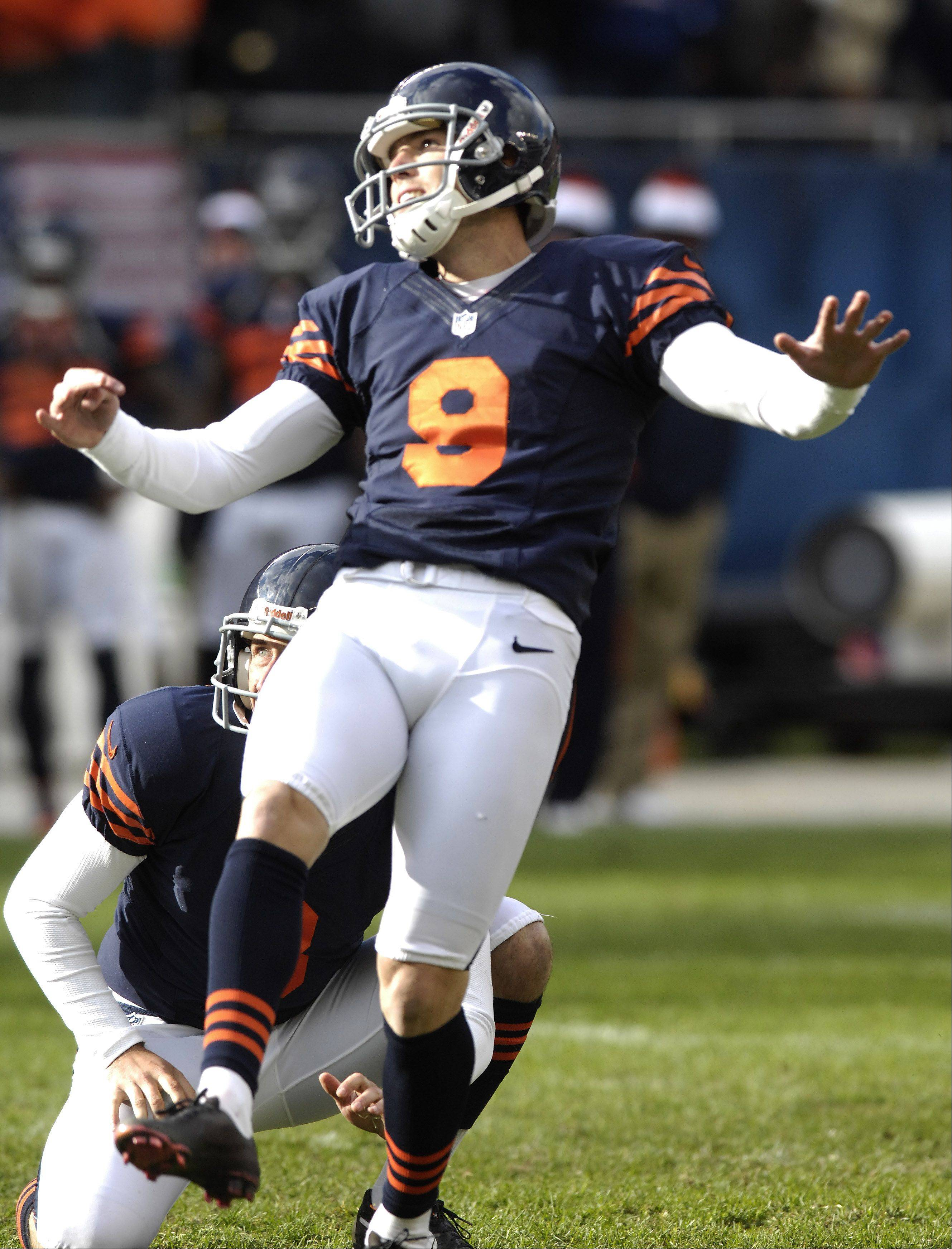 Chicago Bears kicker Robbie Gould kicks the game-winning field goal during Sunday's game at Soldier Field.