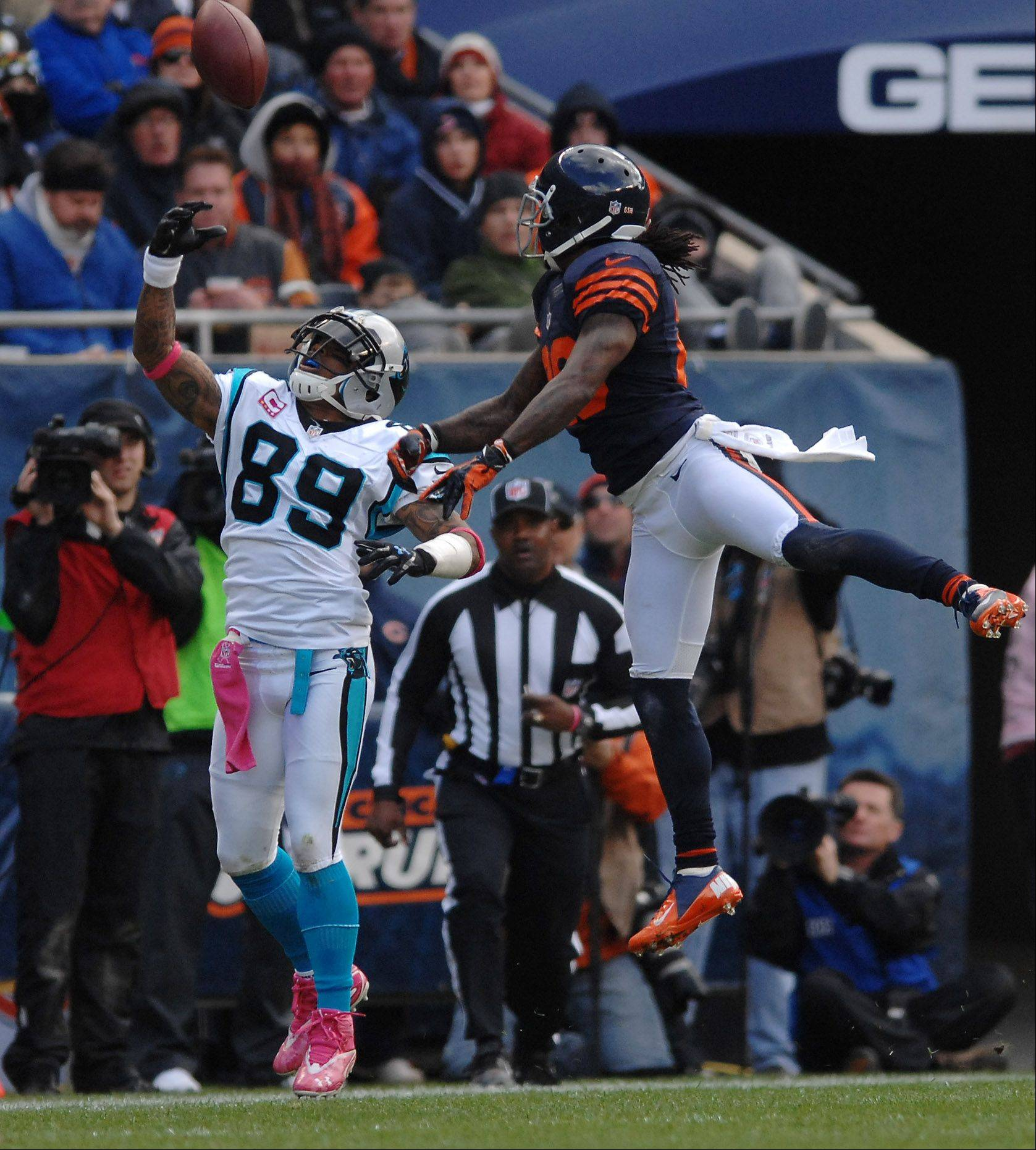 Chicago Bears cornerback Tim Jennings (26) breaks up a pass intended for Carolina Panthers wide receiver Steve Smith (89) during Sunday's game at Soldier Field in Chicago.