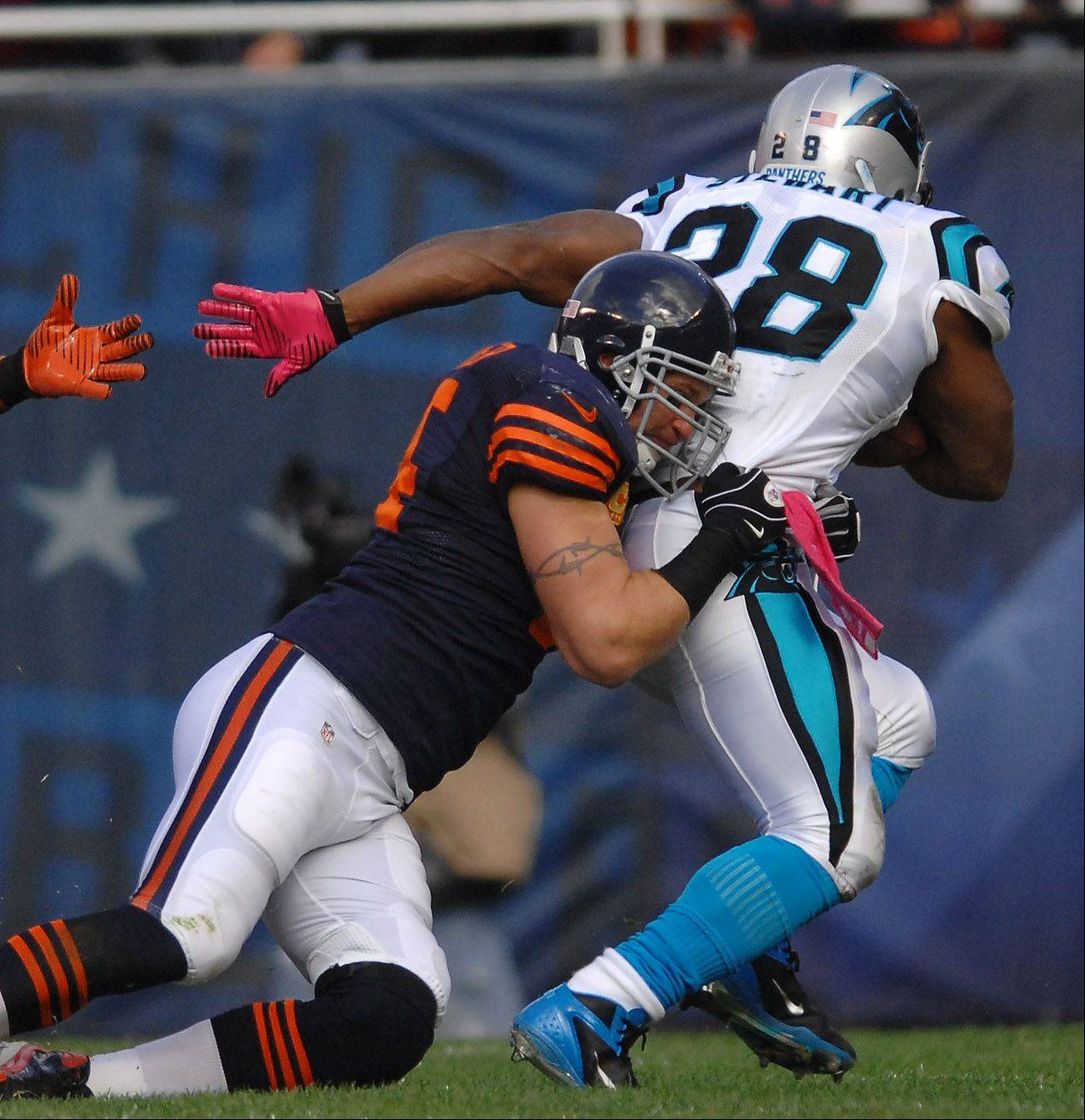 Chicago Bears middle linebacker Brian Urlacher (54) drags down Carolina Panthers running back Jonathan Stewart (28) during Sunday's game at Soldier Field in Chicago.