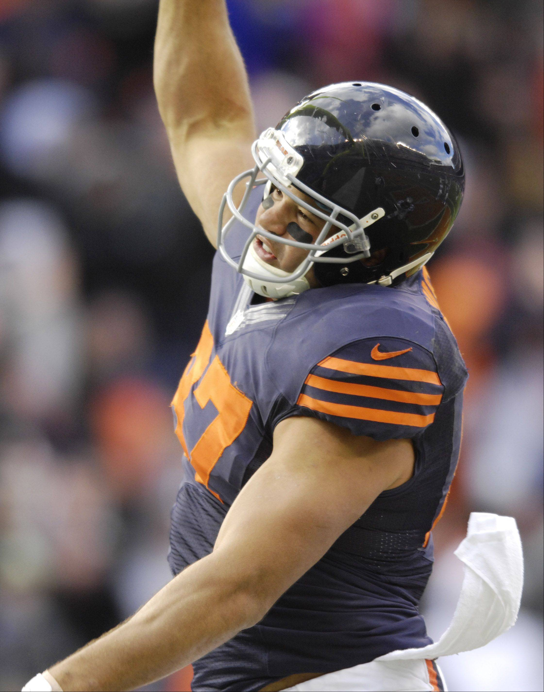 Chicago Bears tight end Kellen Davis celebrates his touchdown during Sunday's game against the Carolina Panthers at Soldier Field.