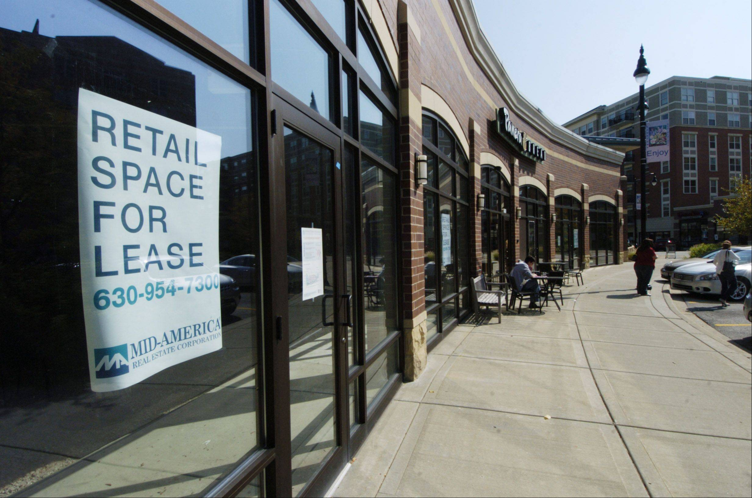"""For Lease"" signs at the Metropolitan Square Development in Des Plaines are reflective of the problems the center has suffered. A new owner is pushing to fill vacancies."