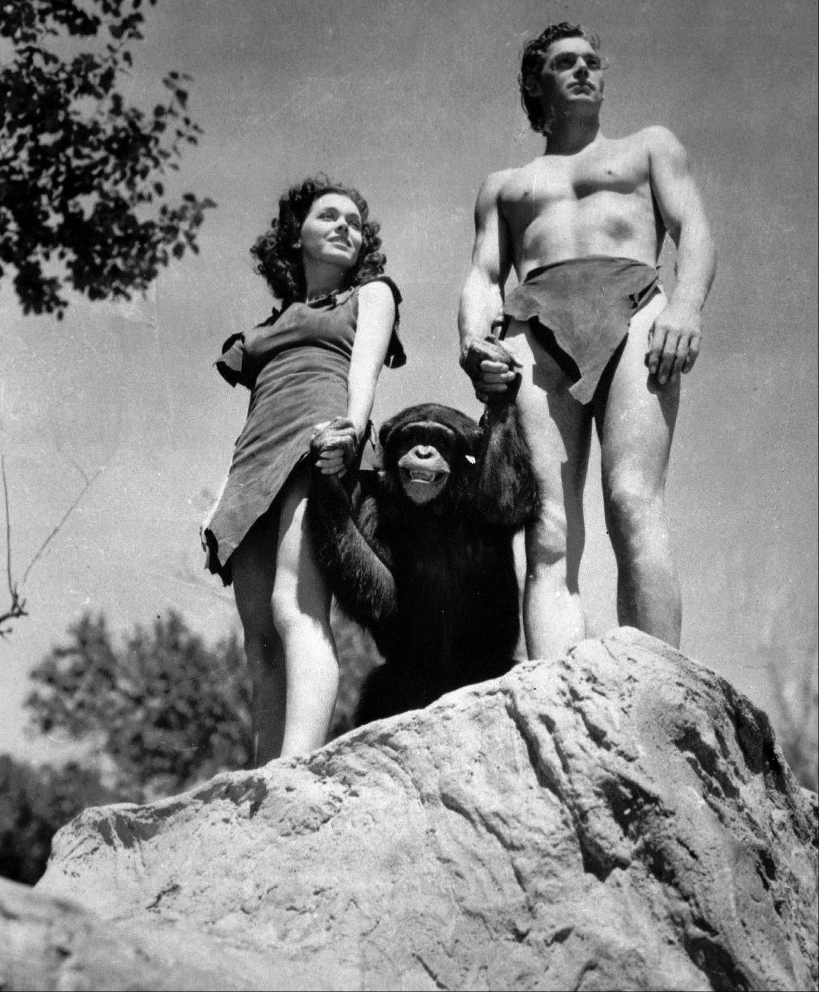 "Johnny Weissmuller, right, played Tarzan and Maureen O'Sullivan was Jane in the 1932 movie ""Tarzan the Ape Man."""