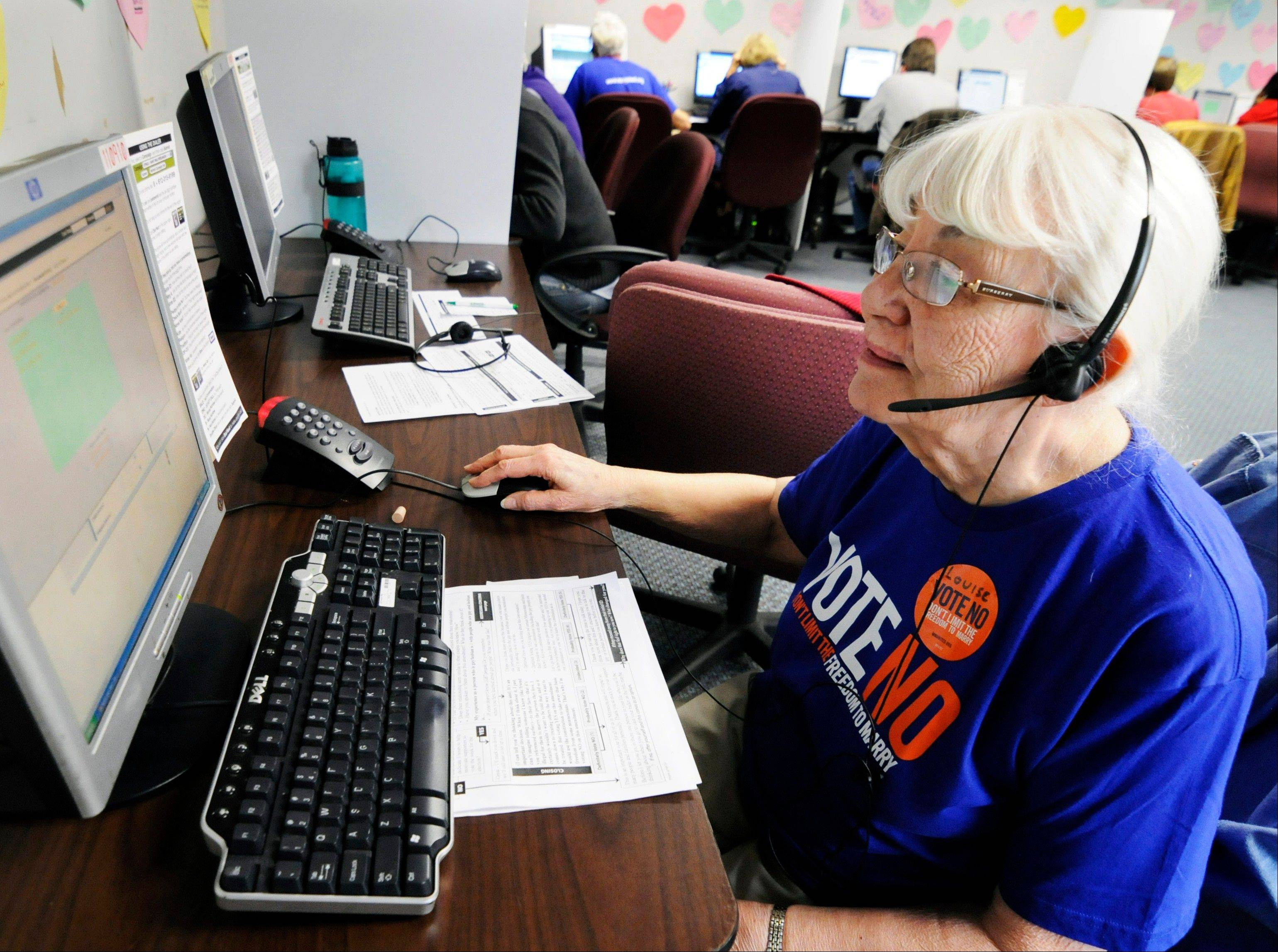 Louise Pardee calls fellow senior citizens from a Shoreview, Minn, phone bank to urge them to vote against a proposed constitutional ban on gay marriage on Minnesota's statewide ballot next month. The phone bank was sponsored by Minnesotans United for All Families, the campaign trying to defeat the amendment.