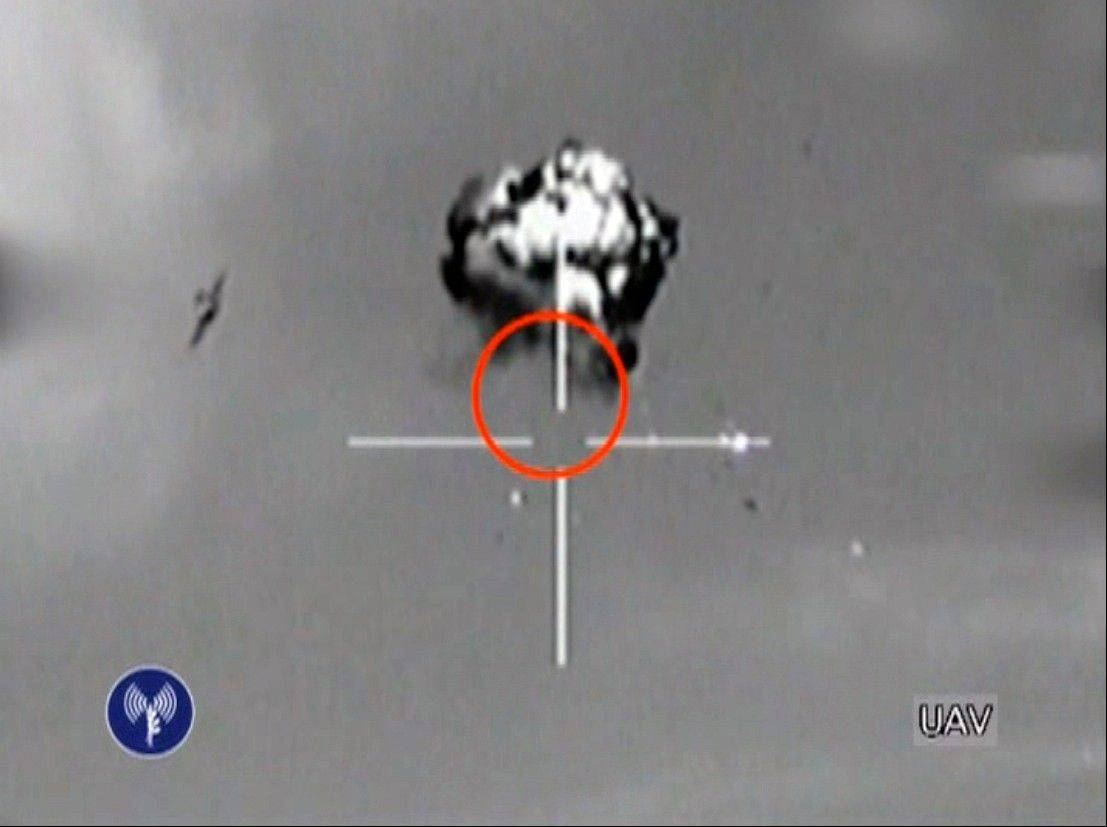This file image made from video released by the Israeli Defense Forces shows the downing of a drone that entered Israeli airspace in southern Israel. Iran has images of sensitive Israeli military bases taken by a drone that was launched by Lebanon's Hezbollah movement and downed by Israel earlier this month, a senior Iranian lawmaker claimed Monday.