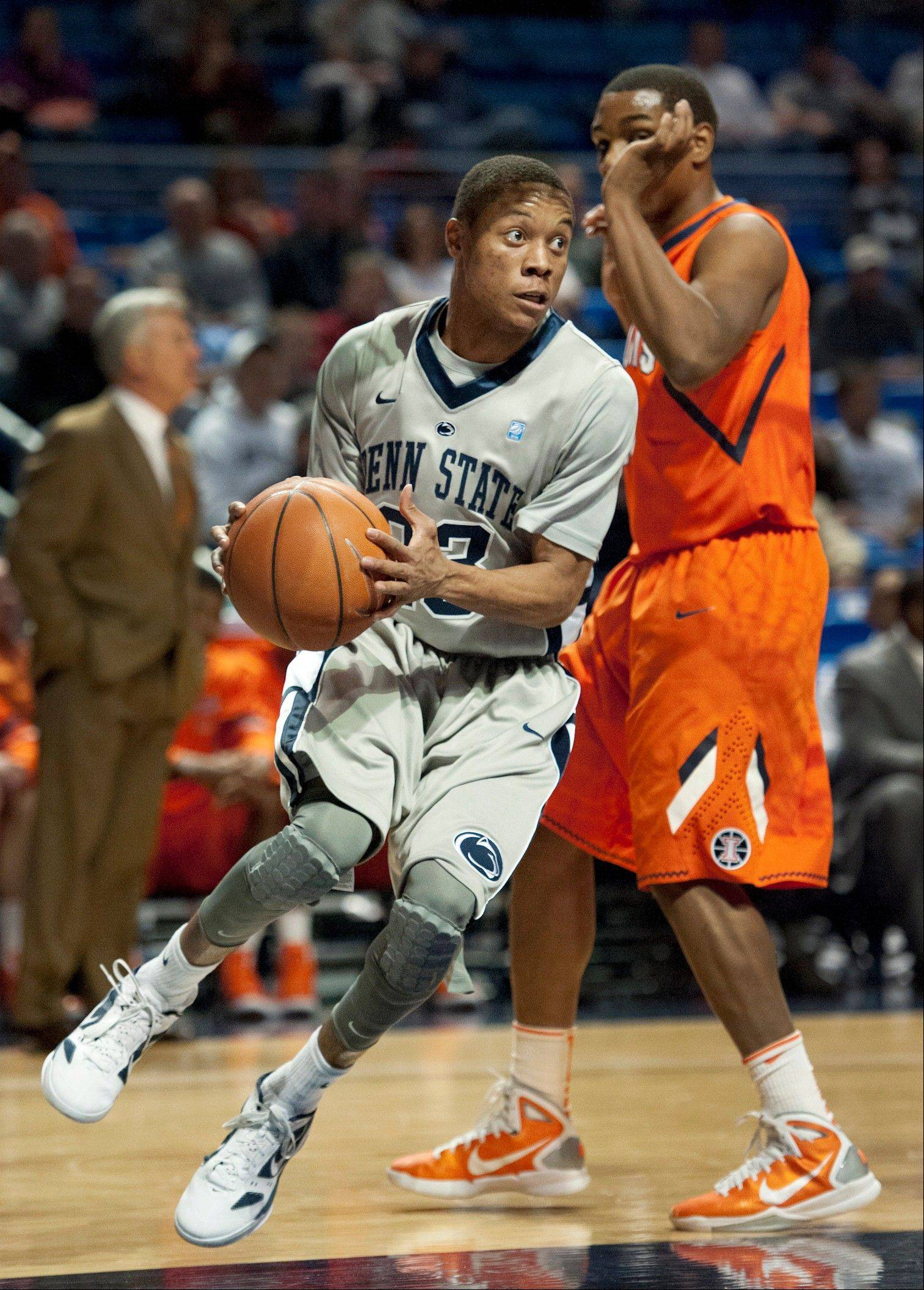 Penn State's Tim Frazier drives past Illinois guard Tracy Abrams during the first half of a Jan. 19, 2012, game in State College, Pa. Frazier led the Big Ten in assists (6.2 per game) and finishing second in scoring (18.8 points) and steals (2.4) last season.