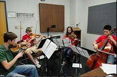 The Hanson String Quartet rehearses for the first concert of the season.