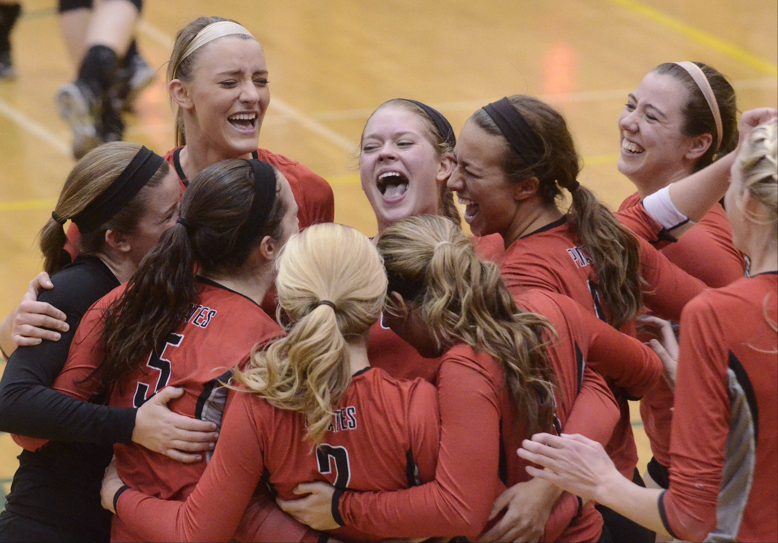 Palatine players celebrate their victory over Stevenson during Tuesday�s sectional semifinal at Fremd.