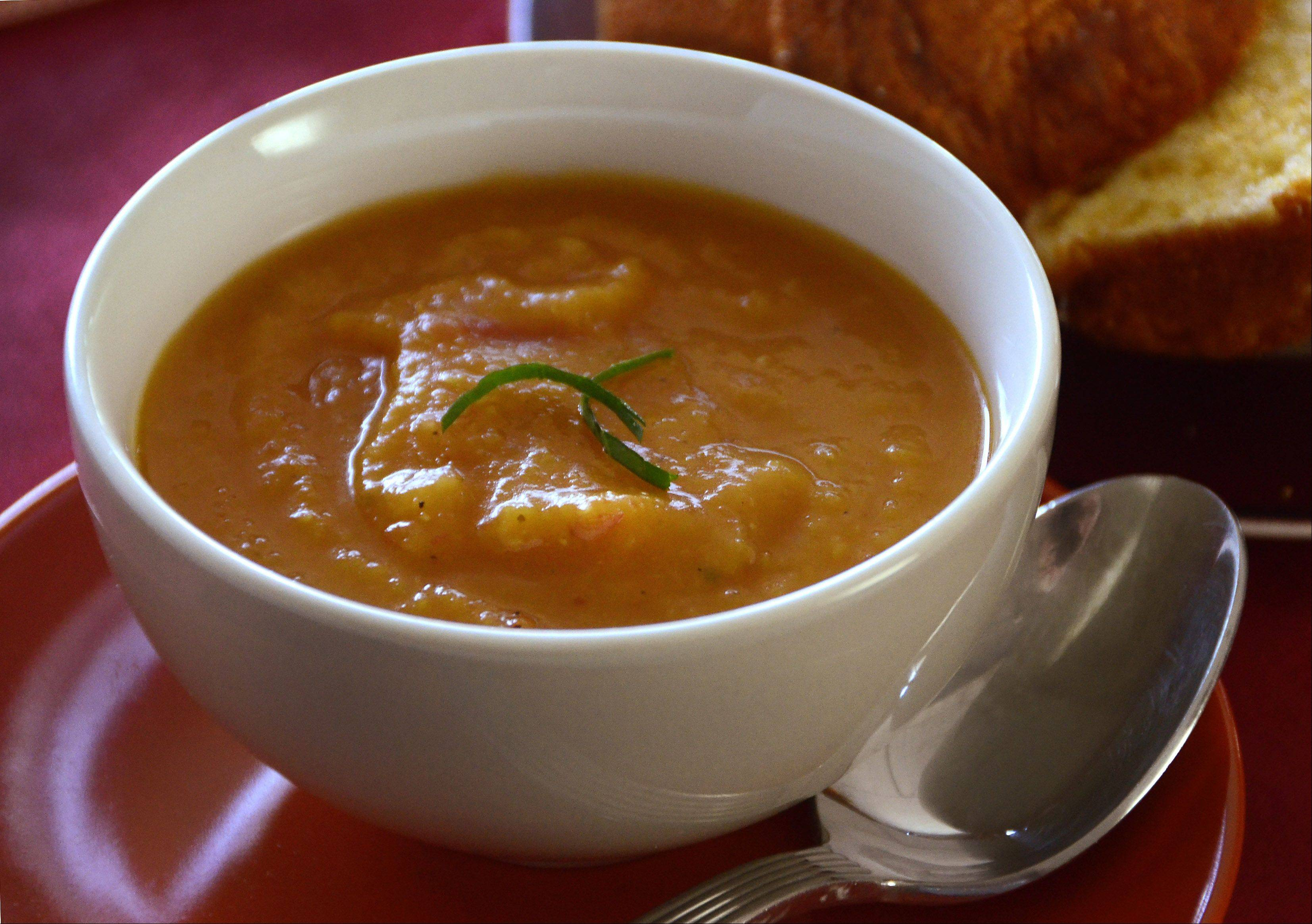 Spicy Butternut Squash soup warms up a cool autumn day.