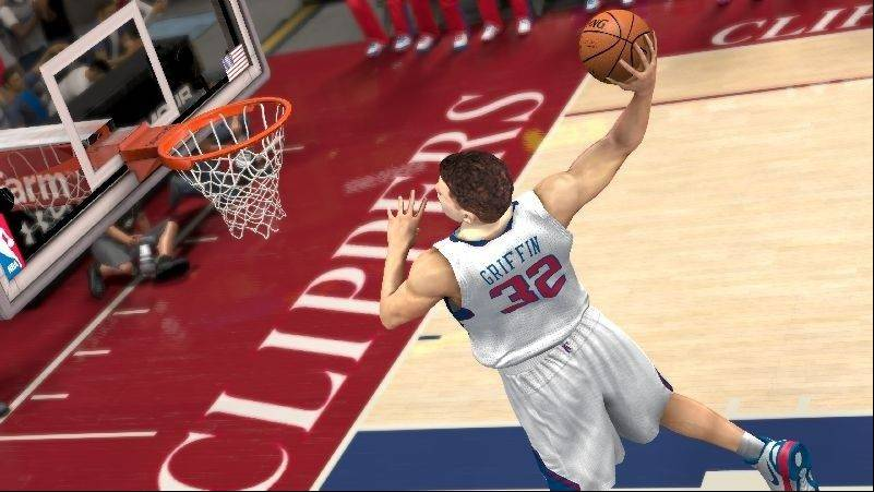 "Los Angeles Clippers' Blake Griffin slam dunks in ""NBA 2K13."""
