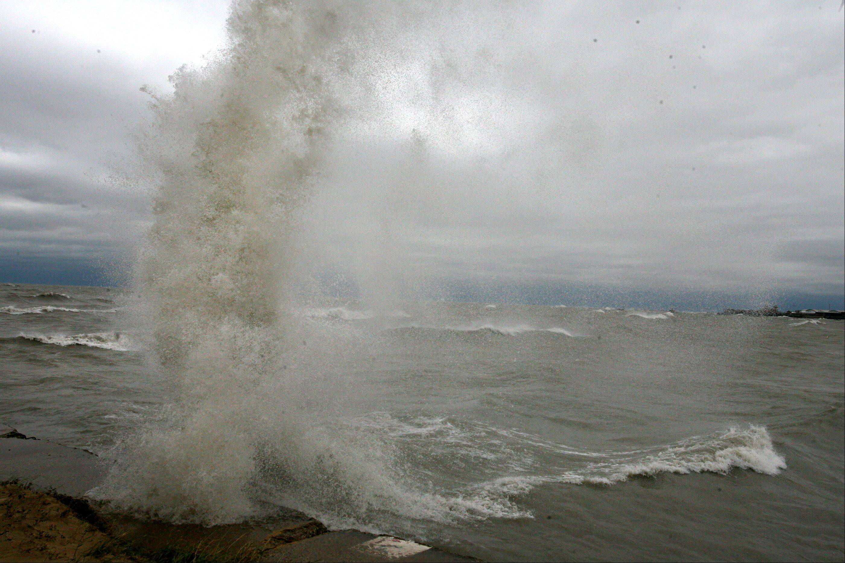 Giant waves batter Lake Michigan shoreline at North Avenue Beach in Chicago on Tuesday, October 30.