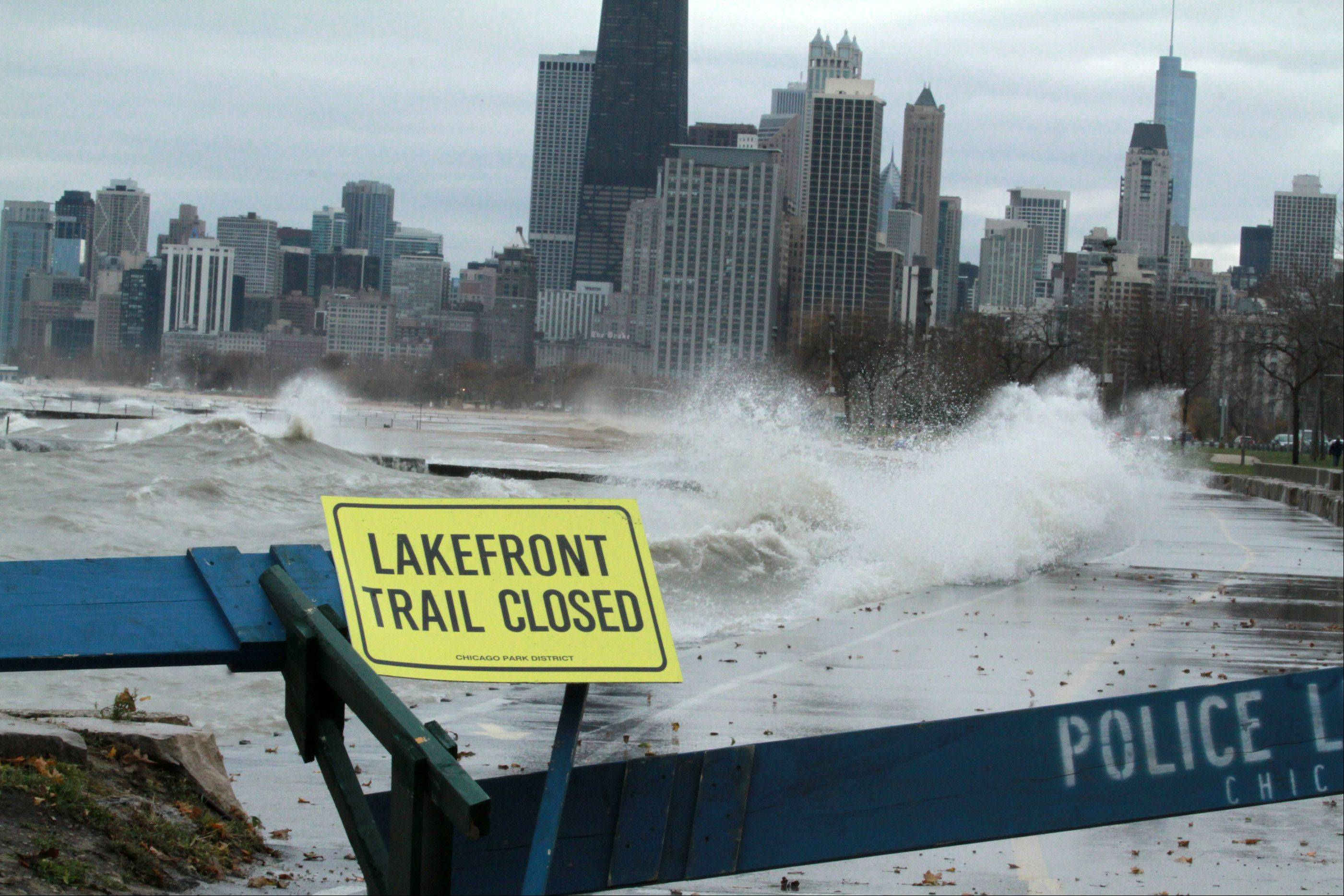 Lake Michigan shoreline walking path was closed north and south of the loop in Chicago on Tuesday, October 30.