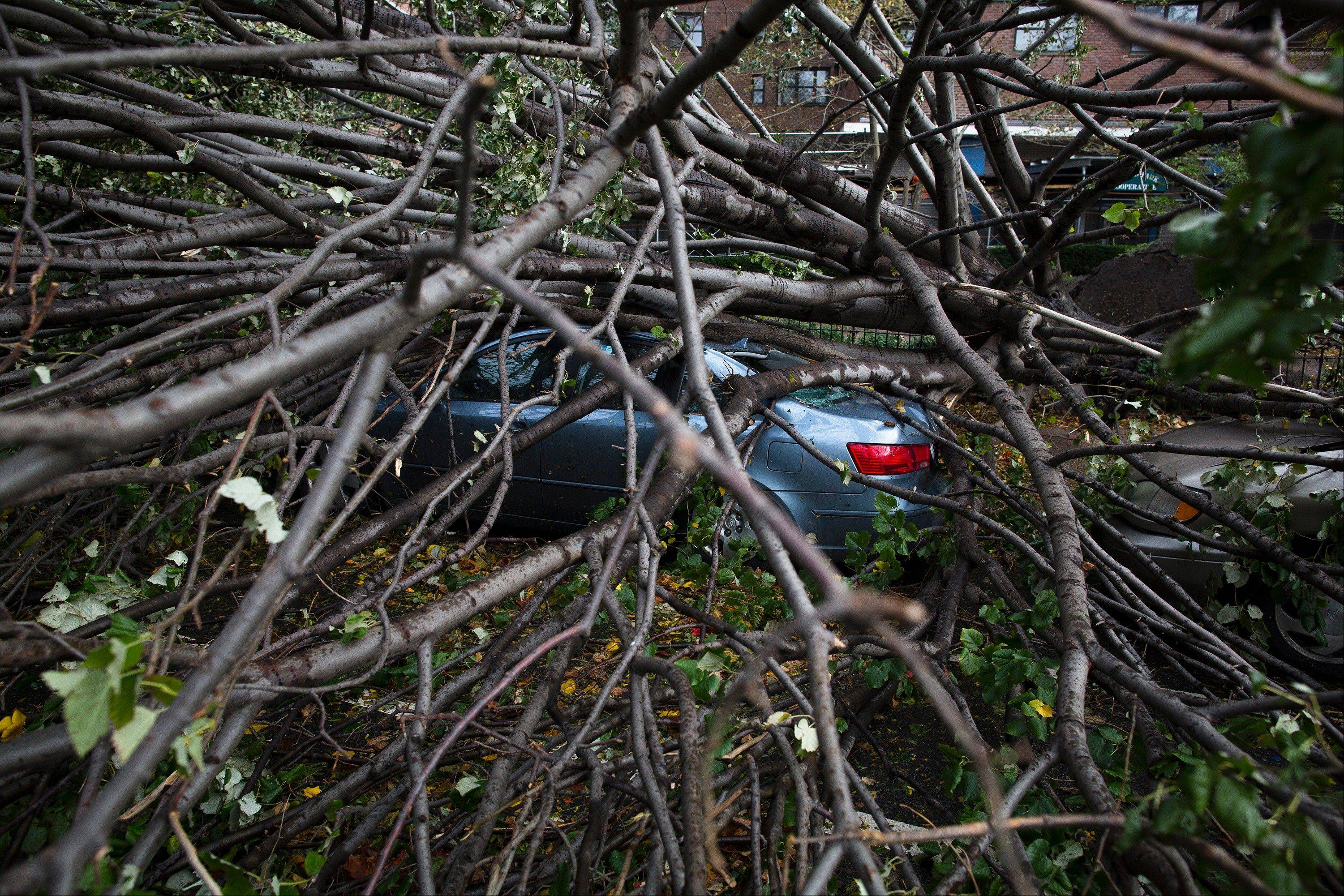A car is crushed beneath a fallen tree on East Broadway in Manhattan's Lower East Side neighborhood, in the aftermath of superstorm Sandy, Tuesday, Oct. 30, 2012, in New York. New York City awakened Tuesday to a flooded subway system, shuttered financial markets and hundreds of thousands of people without power a day after a wall of seawater and high winds slammed into the city, destroying buildings and flooding tunnels.