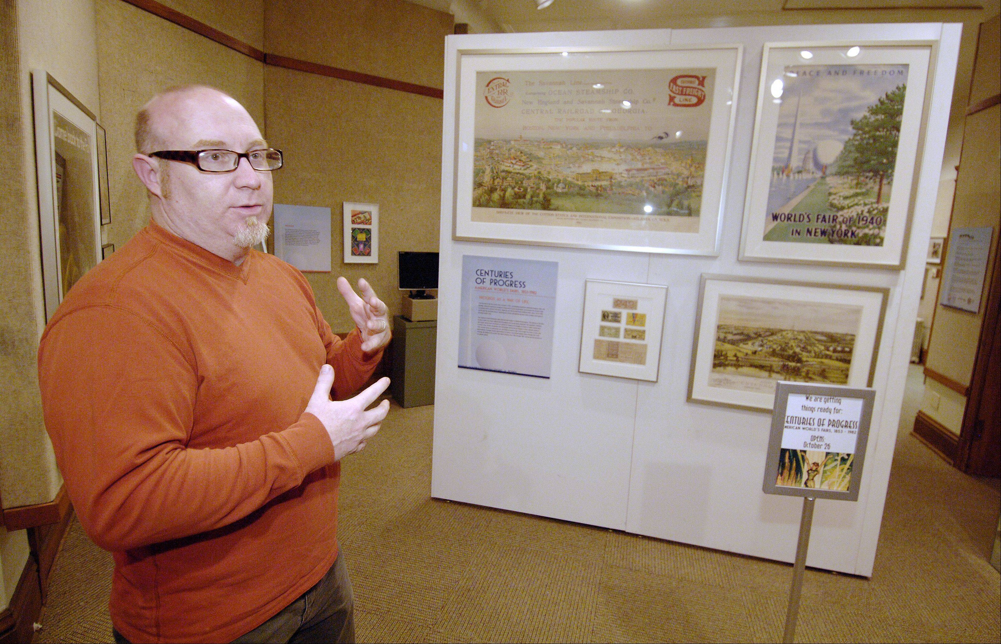 "Elmhurst Historical Museum Curator Lance Tawzer talks about the traveling show ""Centuries of Progress: American World's Fairs: 1853-1982"" and a staff-generated show, ""Elmhurst Goes to the Fair."""