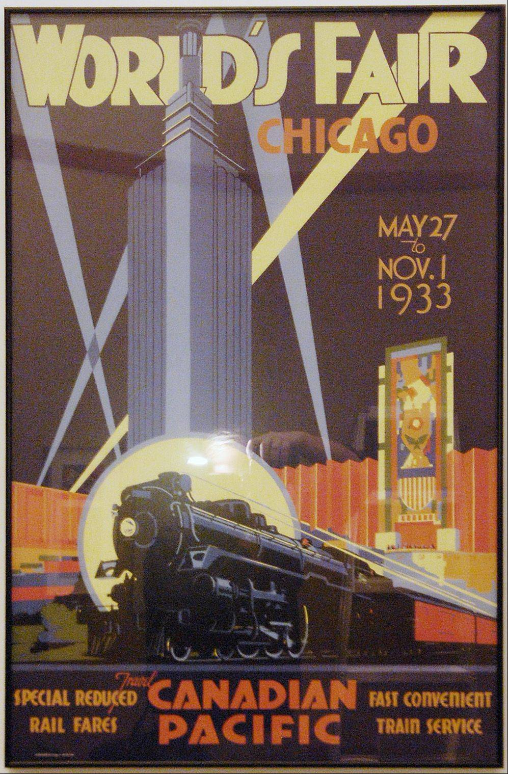 A 1933 Chicago World's Fair poster that is part of the Hagley Museum's traveling show on display at the Elmhurst Historical Museum.