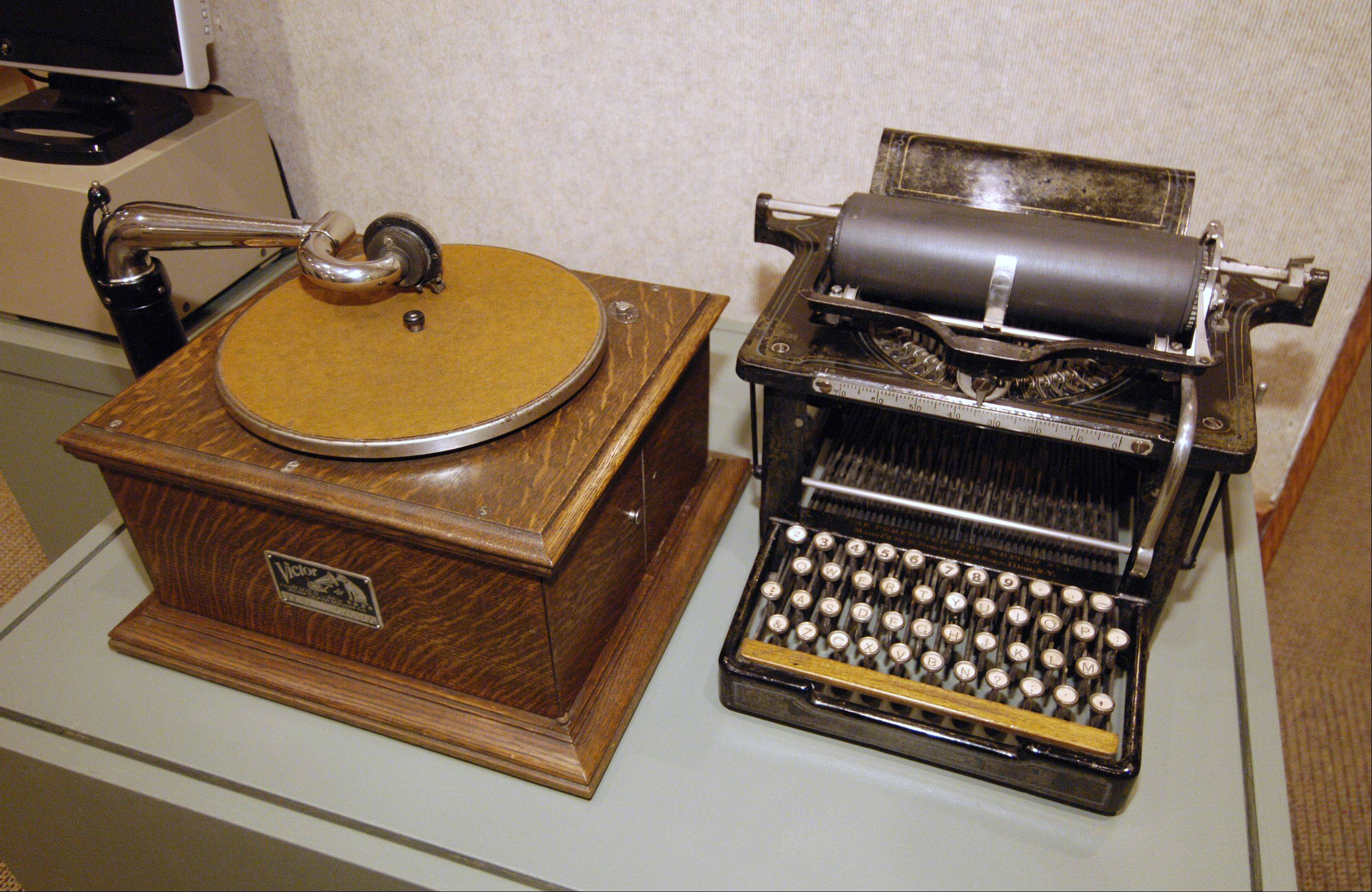 "An early record player and typewriter are part of the Hagley Museum's traveling show, ""Centuries of Progress: American World's Fairs: 1853-1982,"" on display at the Elmhurst Historical Museum."