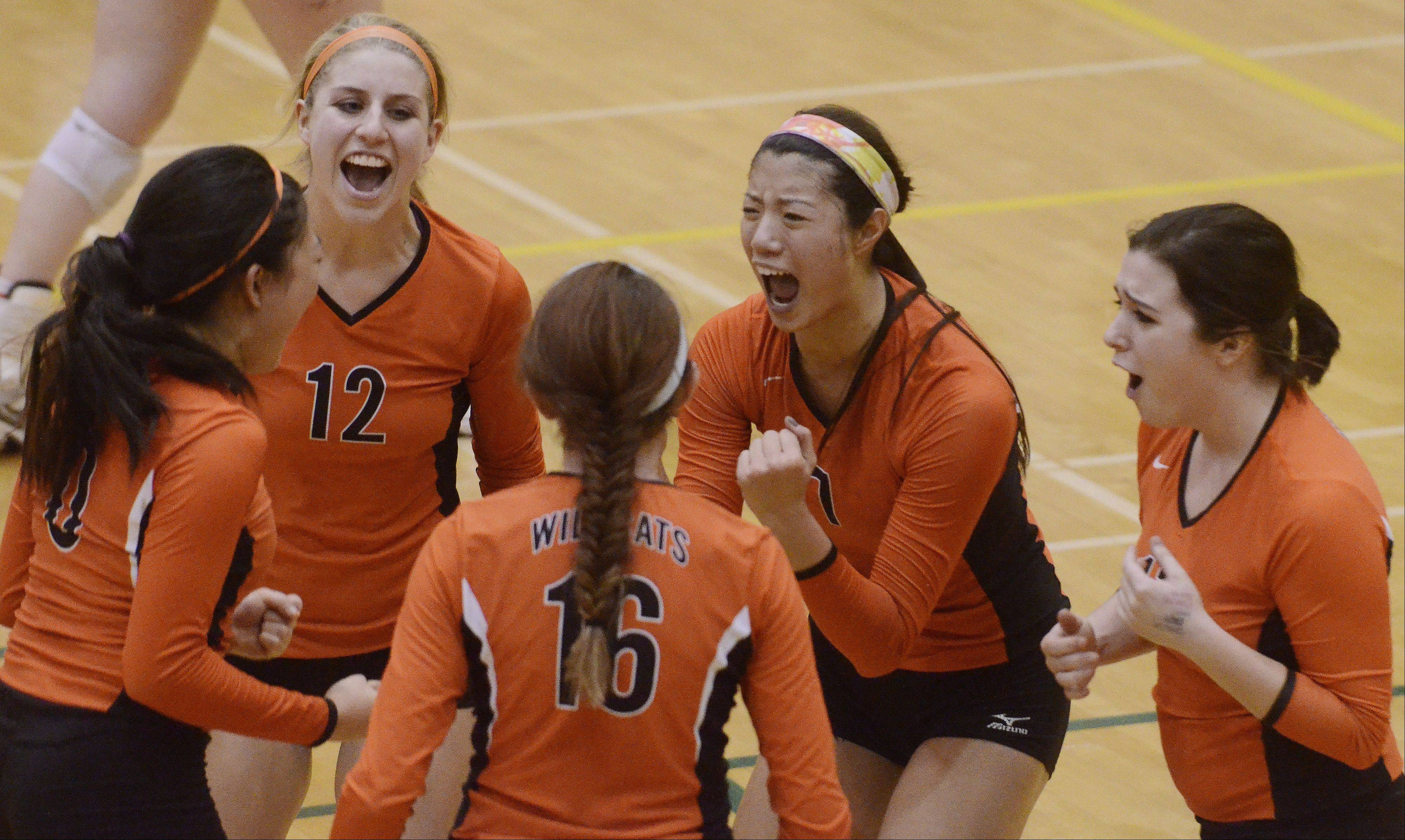 Clockwise from top left, Libertyville's Jordan Bauer, Cindy Zhou, Cassie Ostmeyer, Rhiannon Prentiss and Vicky Liu celebrate their victory over Hersey during Tuesday's sectional semifinal at Fremd High School in Palatine.