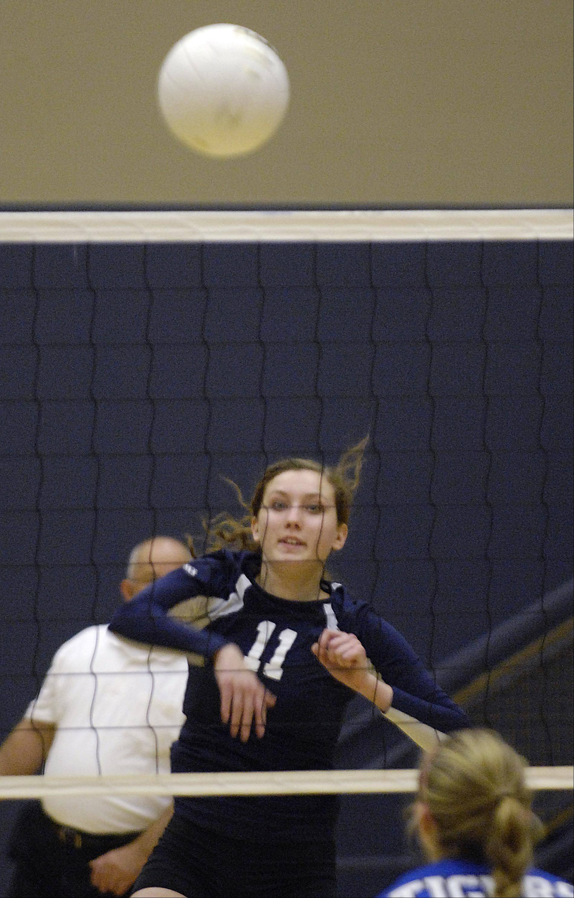 Harvest Christian Academy's Chloe Corbett shoots against Chicagoland Jewish Tuesday during the sectional match in Elgin.