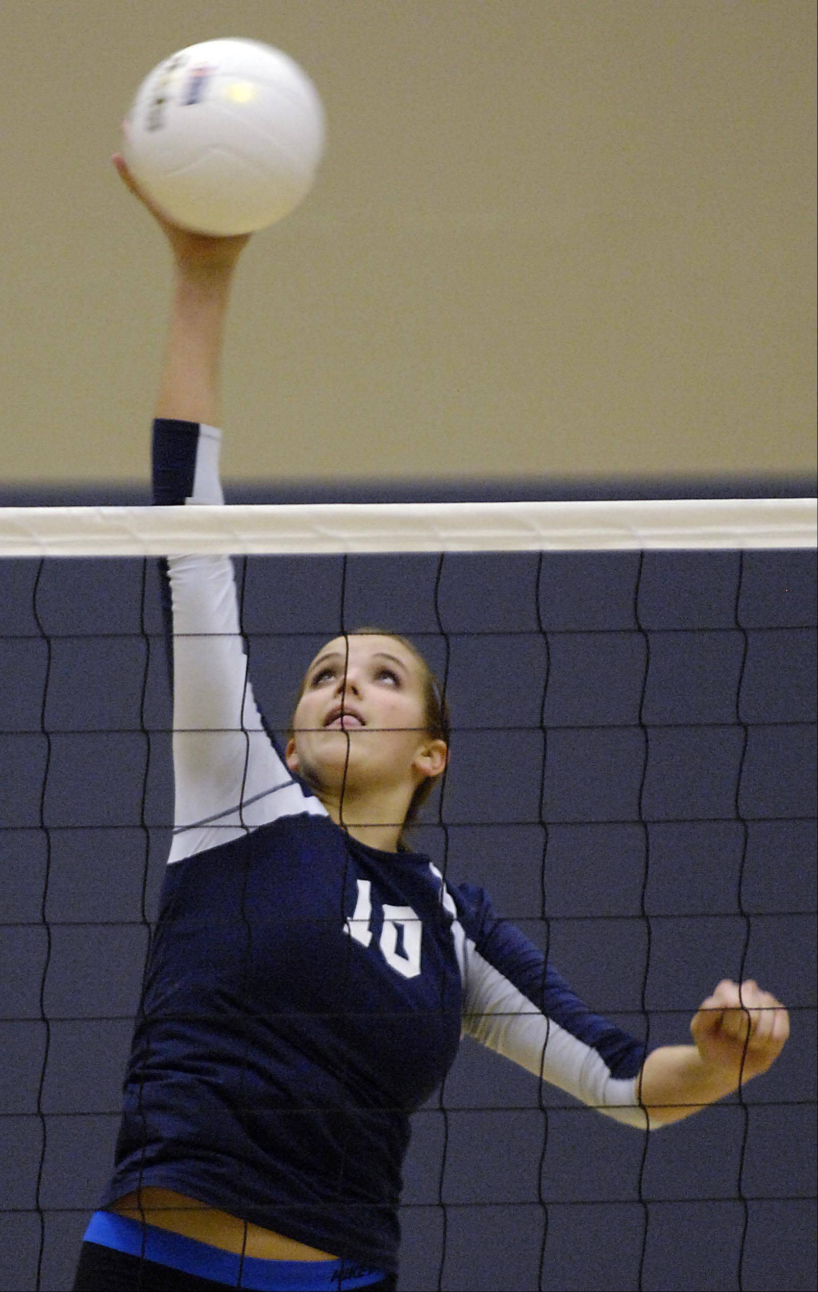Harvest Christian Academy's Sydney Doby scores against Chicagoland Jewish Tuesday during the sectional match in Elgin.