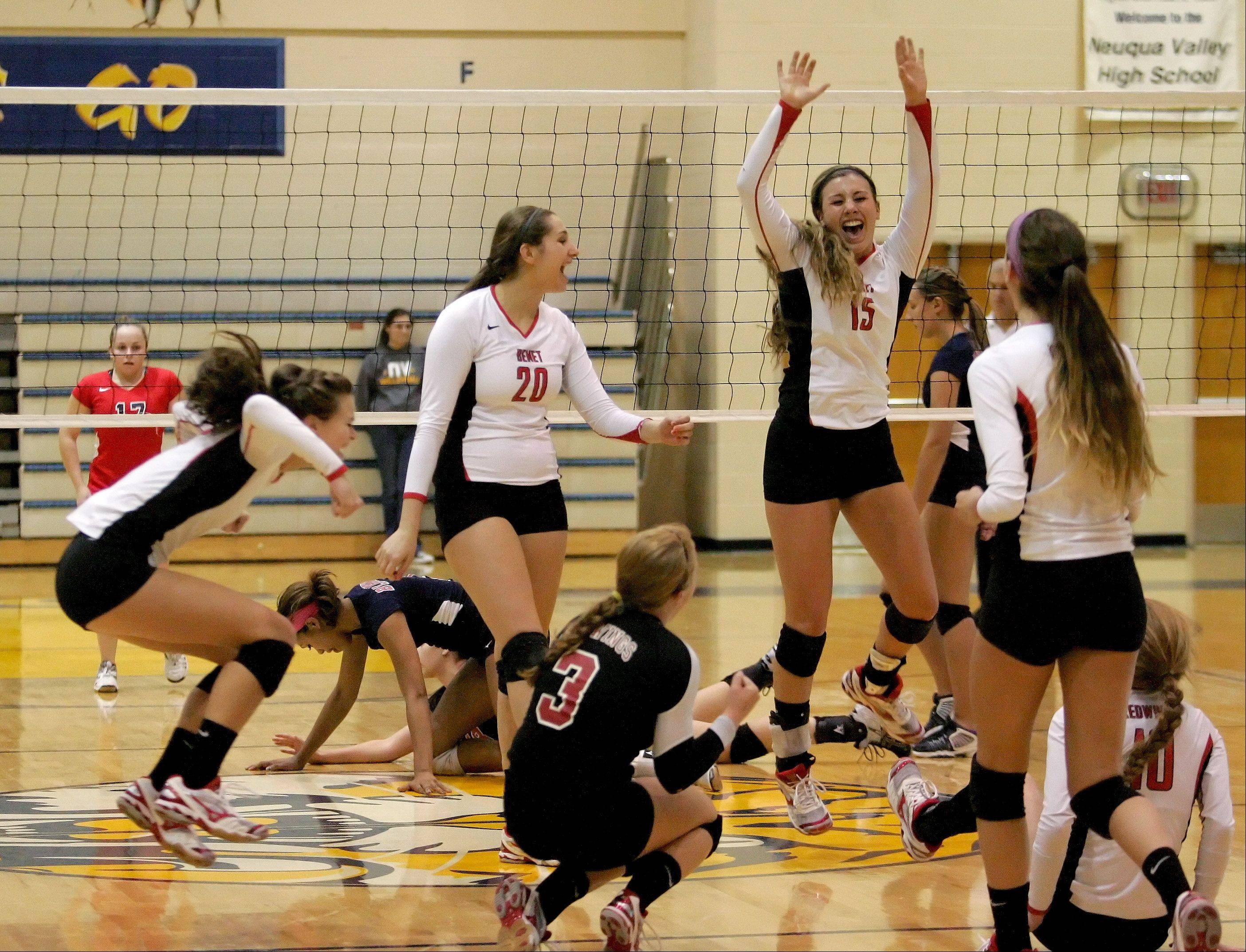 Benet reacts to their 2-0 win over West Aurora in girls volleyball Neuqua Valley sectional semifinals in Naperville on Tuesday.