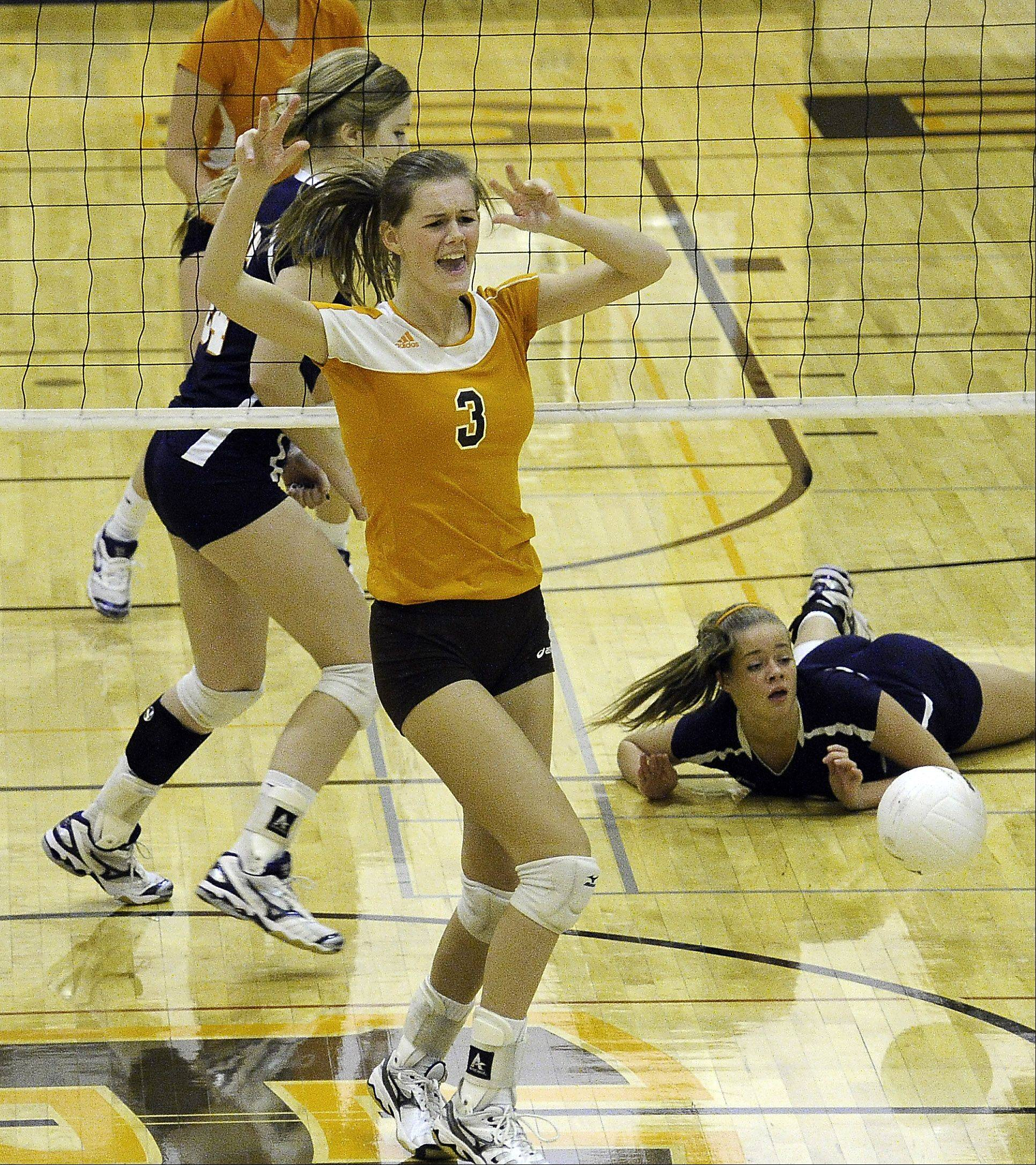 Hersey's Erica Hill blocked the shot and left Buffalo Grove hitting the floor Thursday.