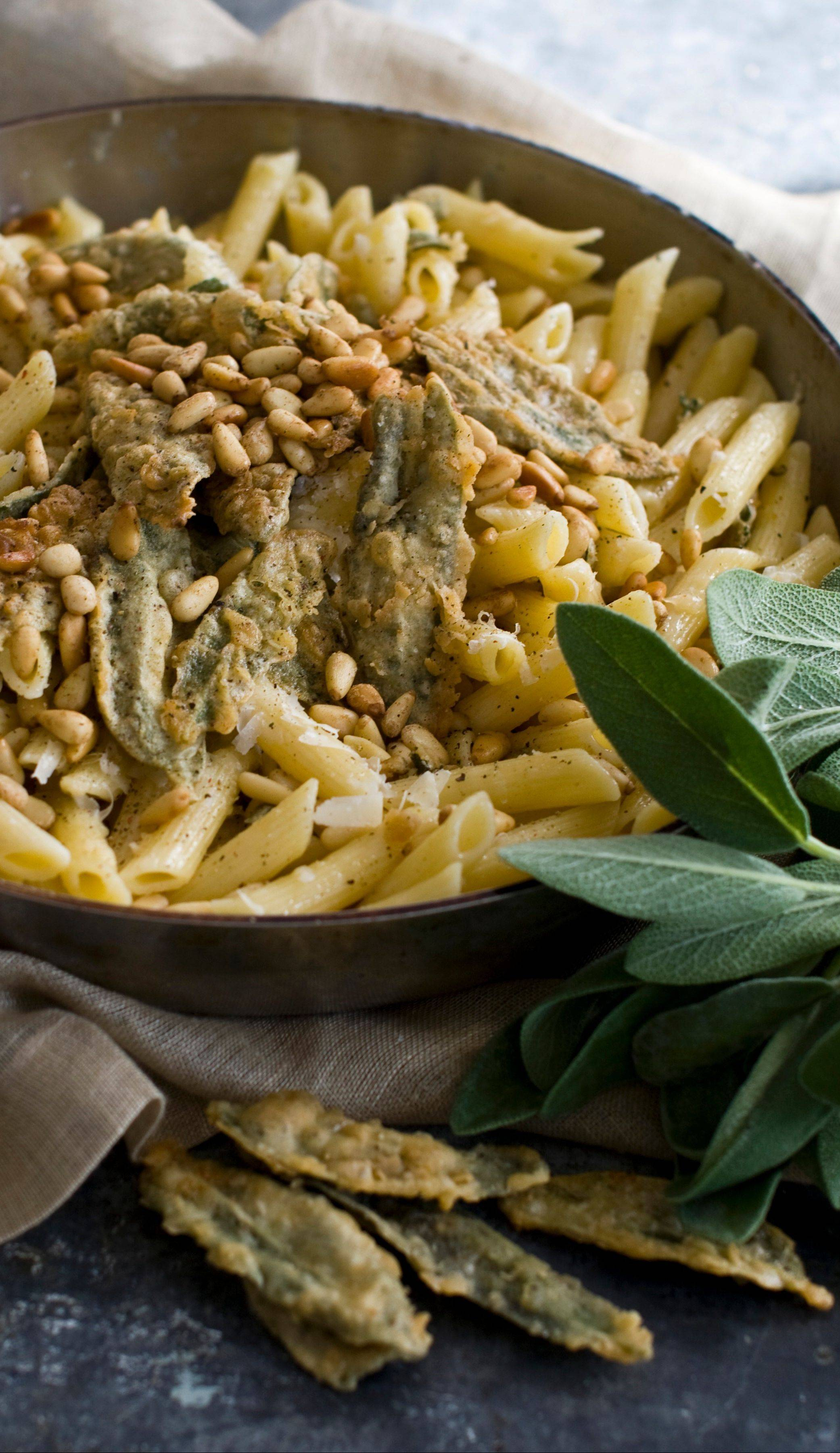 Fried sage loves fat, making it perfect partners for butter and parmesan in this hearty penne dish.