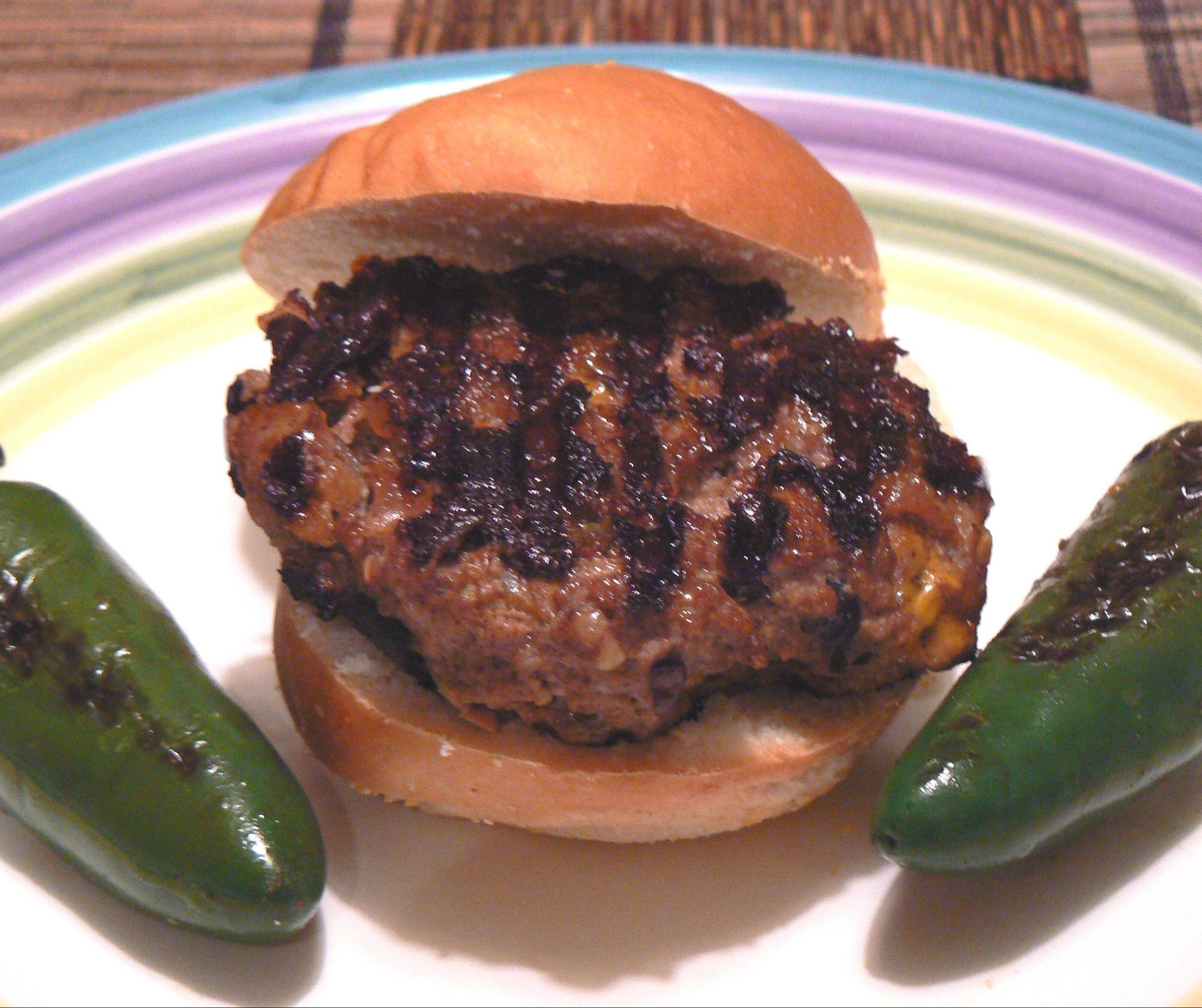 Ground beef gets mixed with sauteed peppers, Chianti and American cheese before hitting the grill. Served with cumin-infused ketchup, it makes a hearty and lean burger.