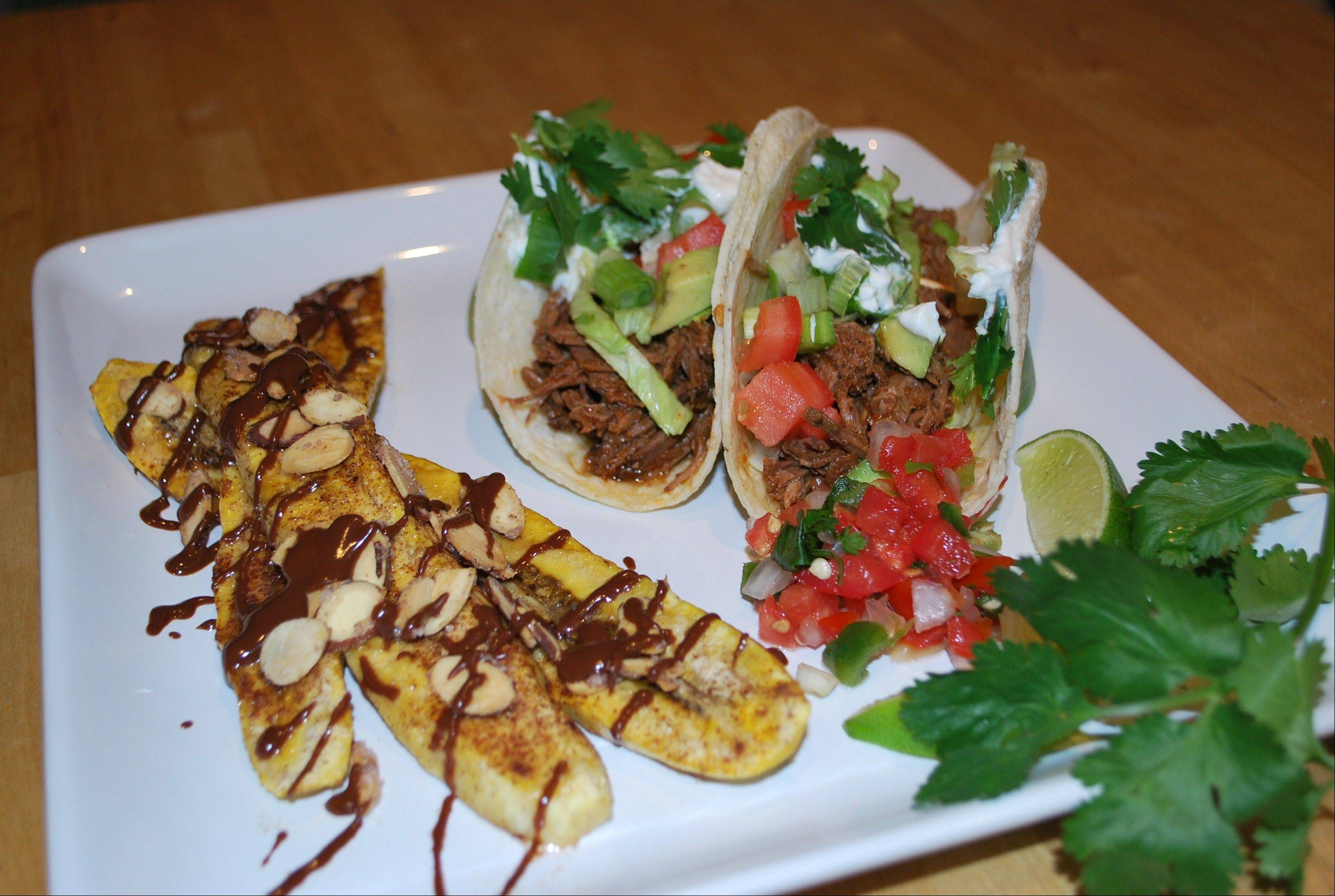 Katie Bloomfield slow-cooked a tri-tip roast to make tacos and serves them with a side of chocolate-sauced plantains.