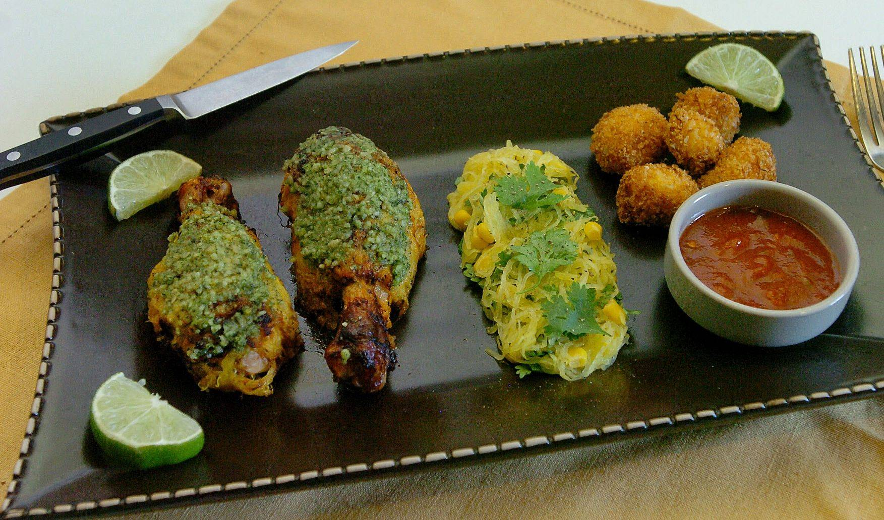 Chuck Federici's Nested Salsa Chicken Legs with Cilantro Pesto and Spaghetti Squash Tots