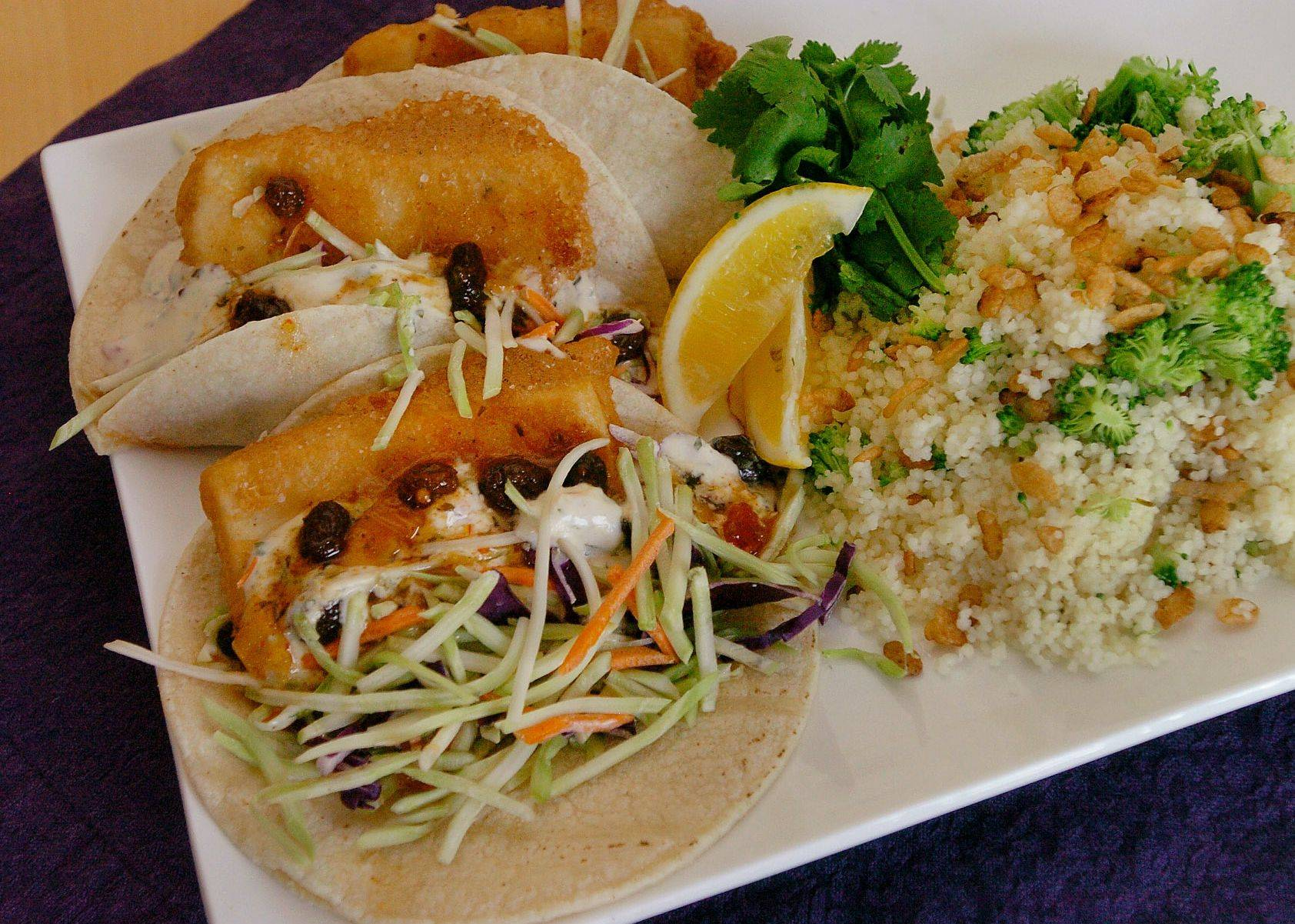 Louann Zundel's Baja Tofu Tacos with Broccoli Couscous