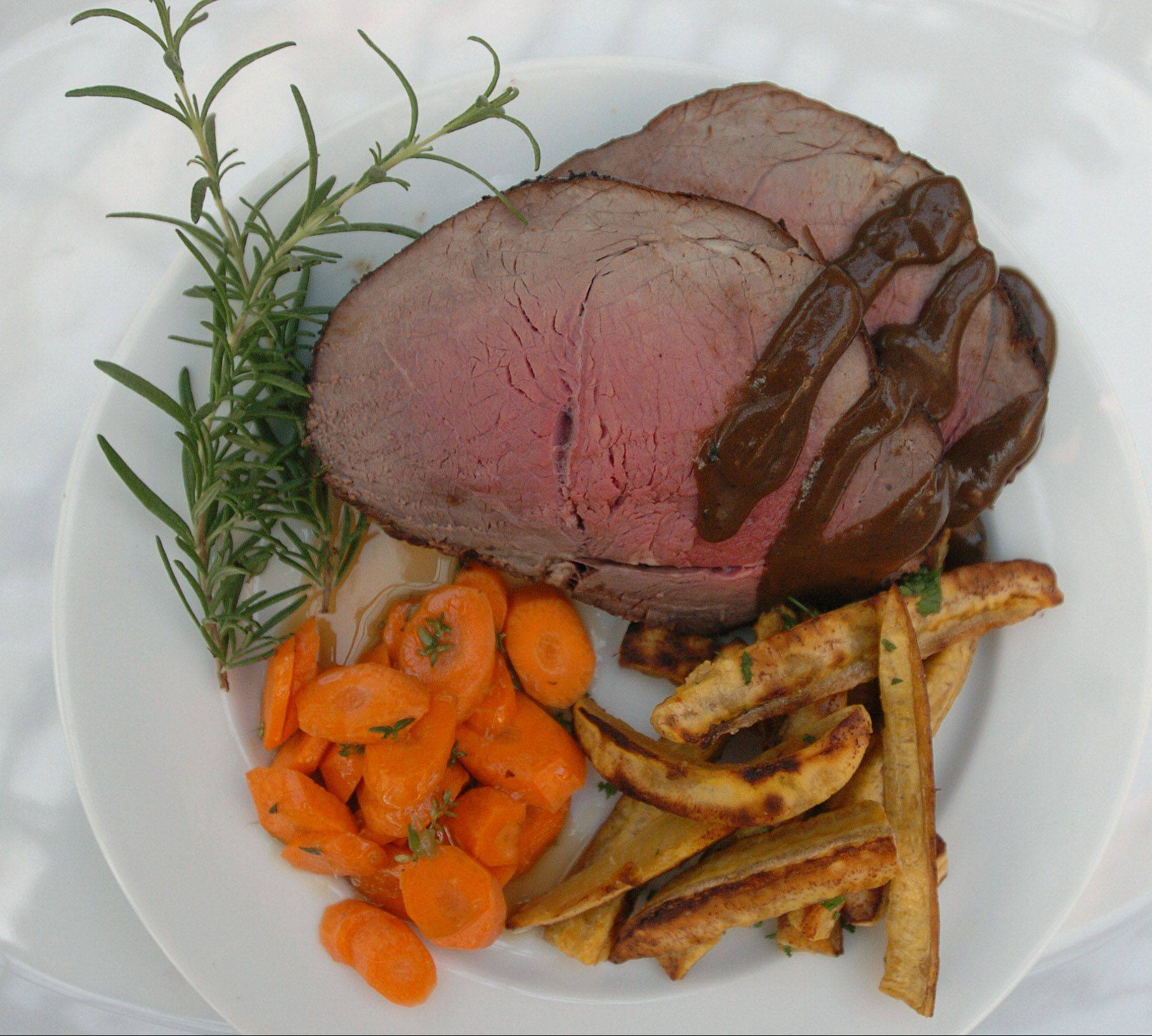 Terri Edmunds's Chocolate Espresso Tri Tip Roast with Roasted Plantain Fries and Citrus-glazed Thyme Carrots