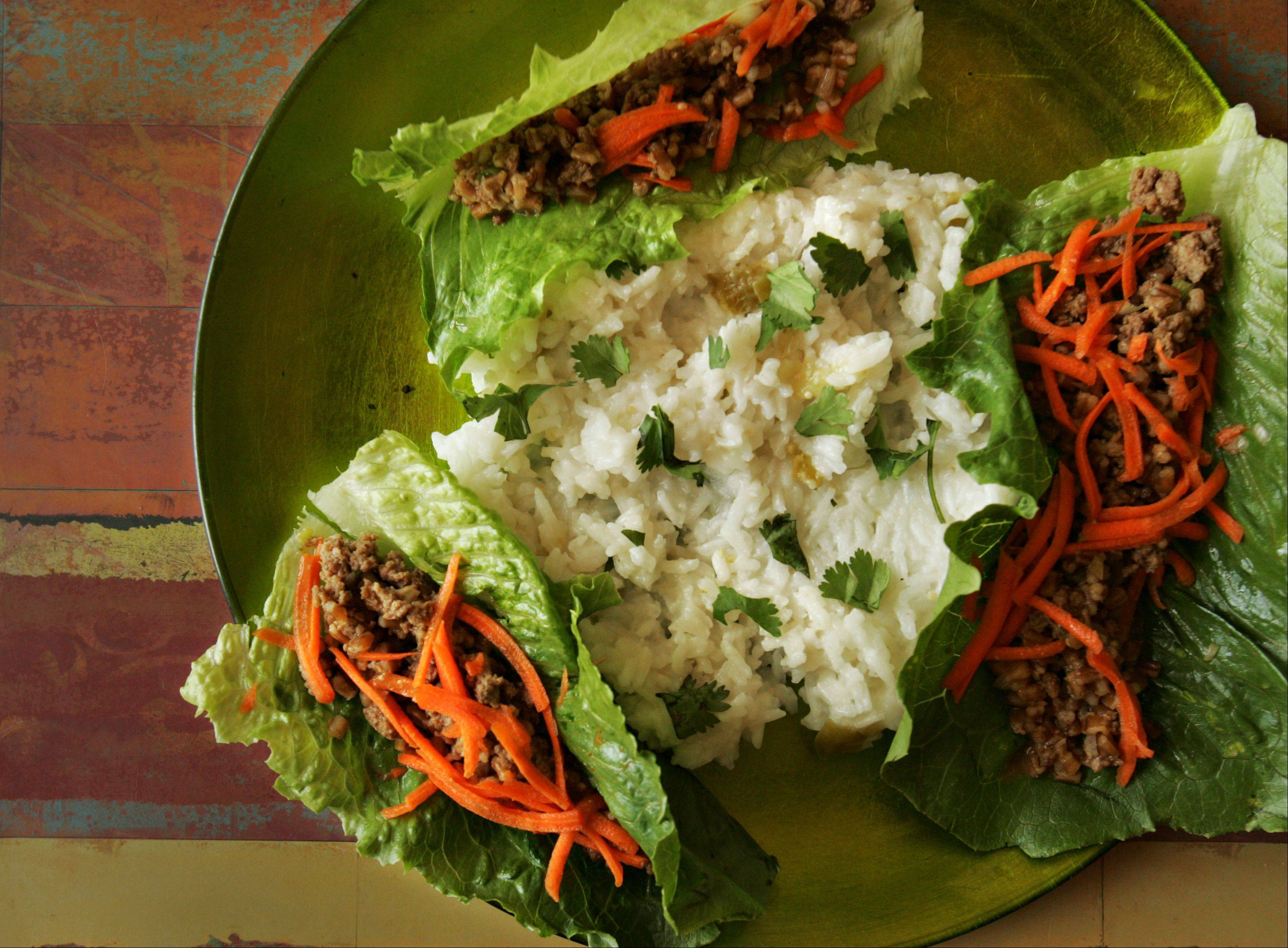 Michael Pennisi's Asian-Style Turkey-Wheat Berry Lettuce Wraps with Coconut-Tomatillo Rice