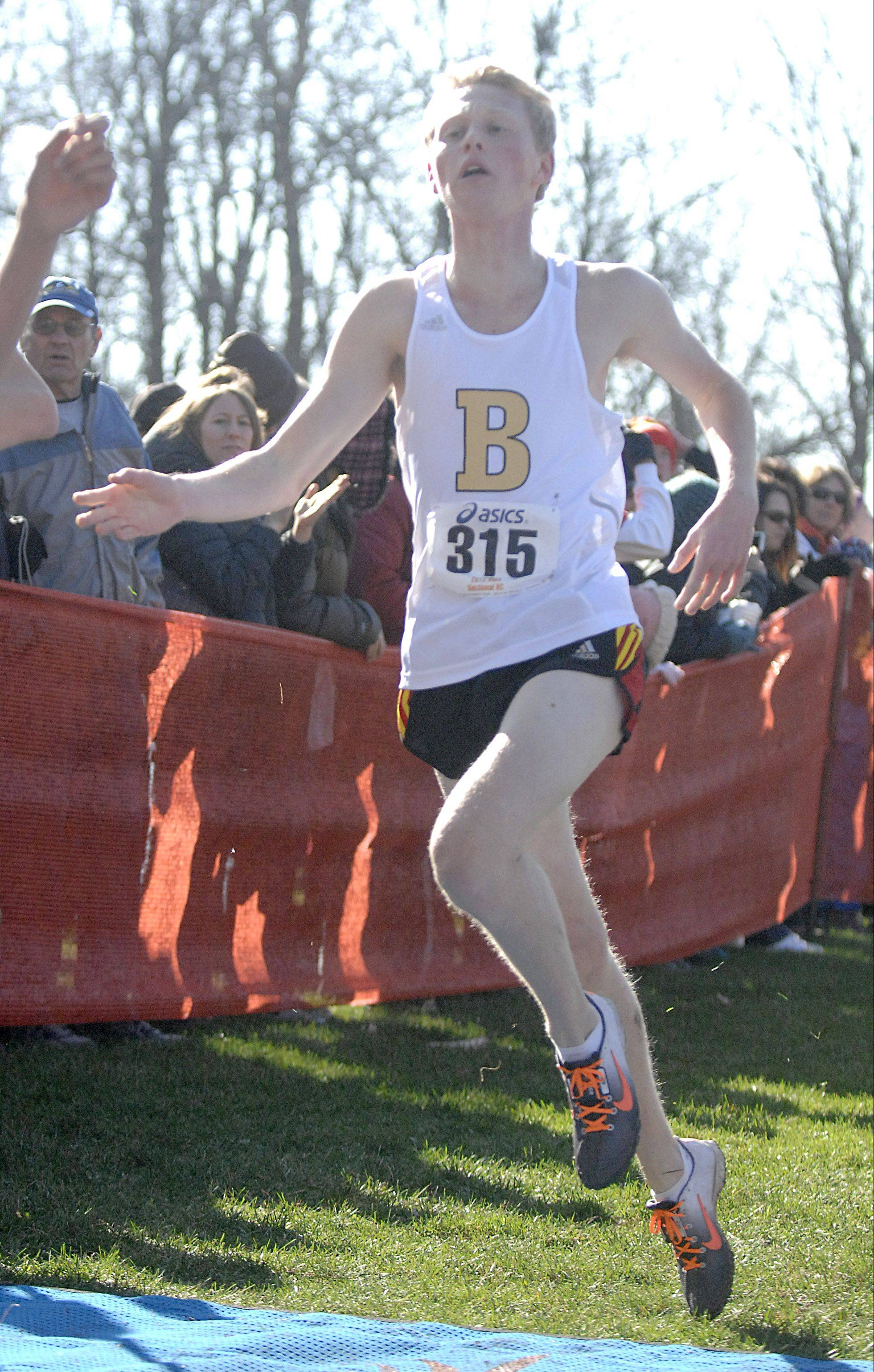 Batavia's Trevor Hollis crosses the finish line at the Class 3A St. Charles East cross country sectional last Saturday in fifth place to qualify for state.