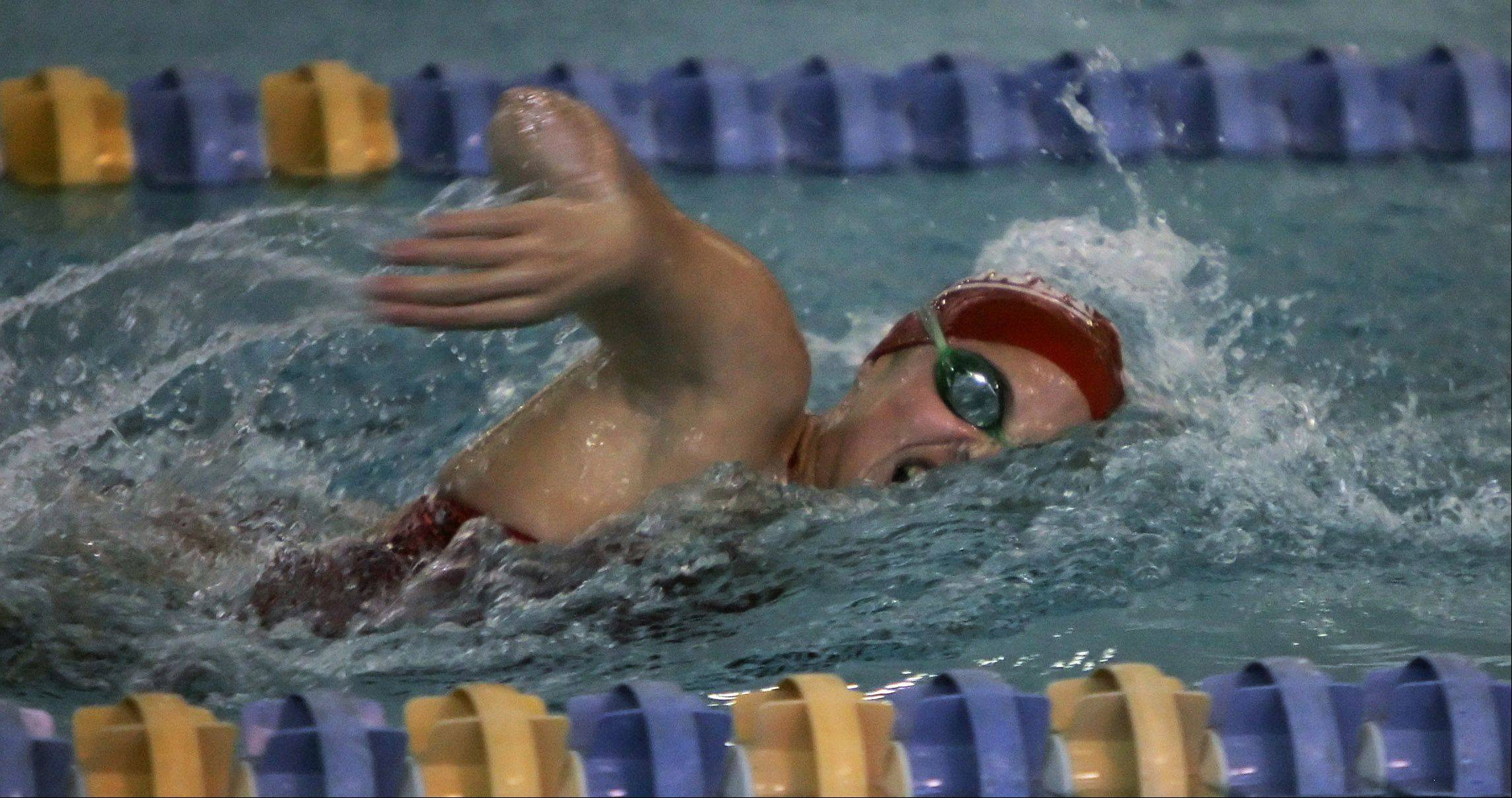 Jenn Kordik wins the 200-yard freestyle race during a recent meet between Mundelein and Lake Forest. The meet was held at Lake Forest, but it was Mundelein's senior day.