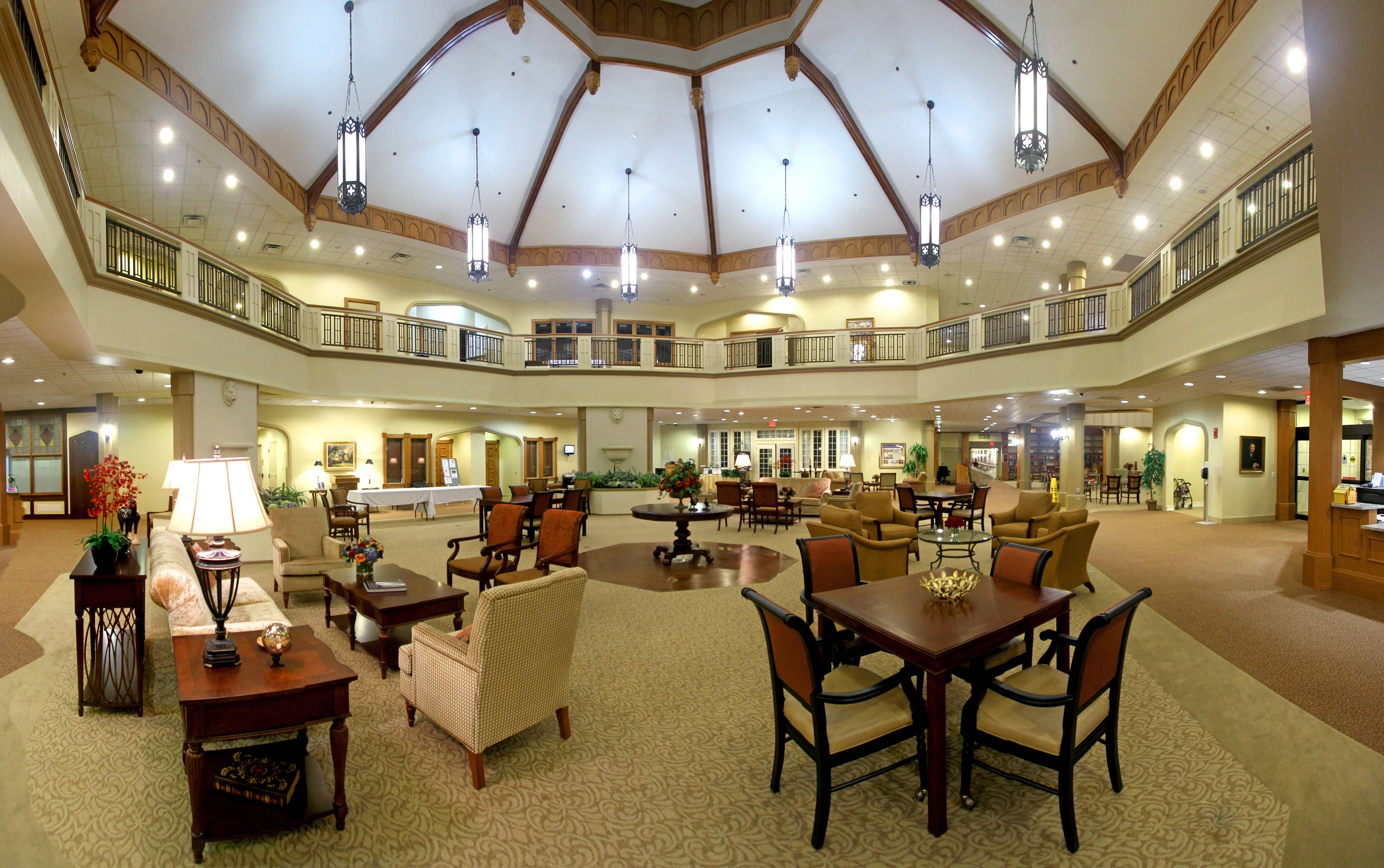 The remodeled Centrum of Windsor Park, A Covenant Retirement Community located in Carol Stream, Illinois.