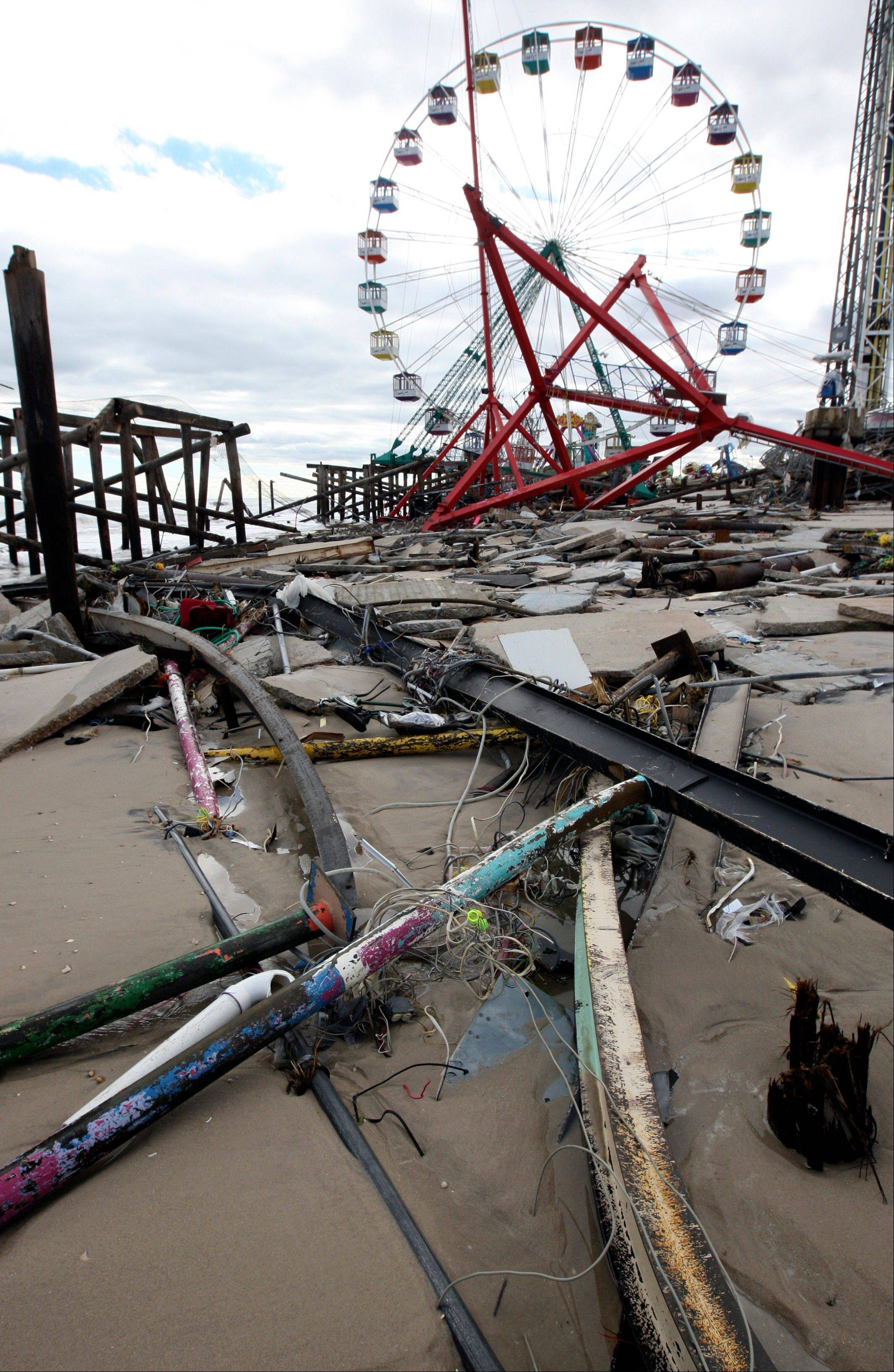 The Fun Town Pier in Seaside Heights, N.J. was heavily damaged by superstorm Sandy.