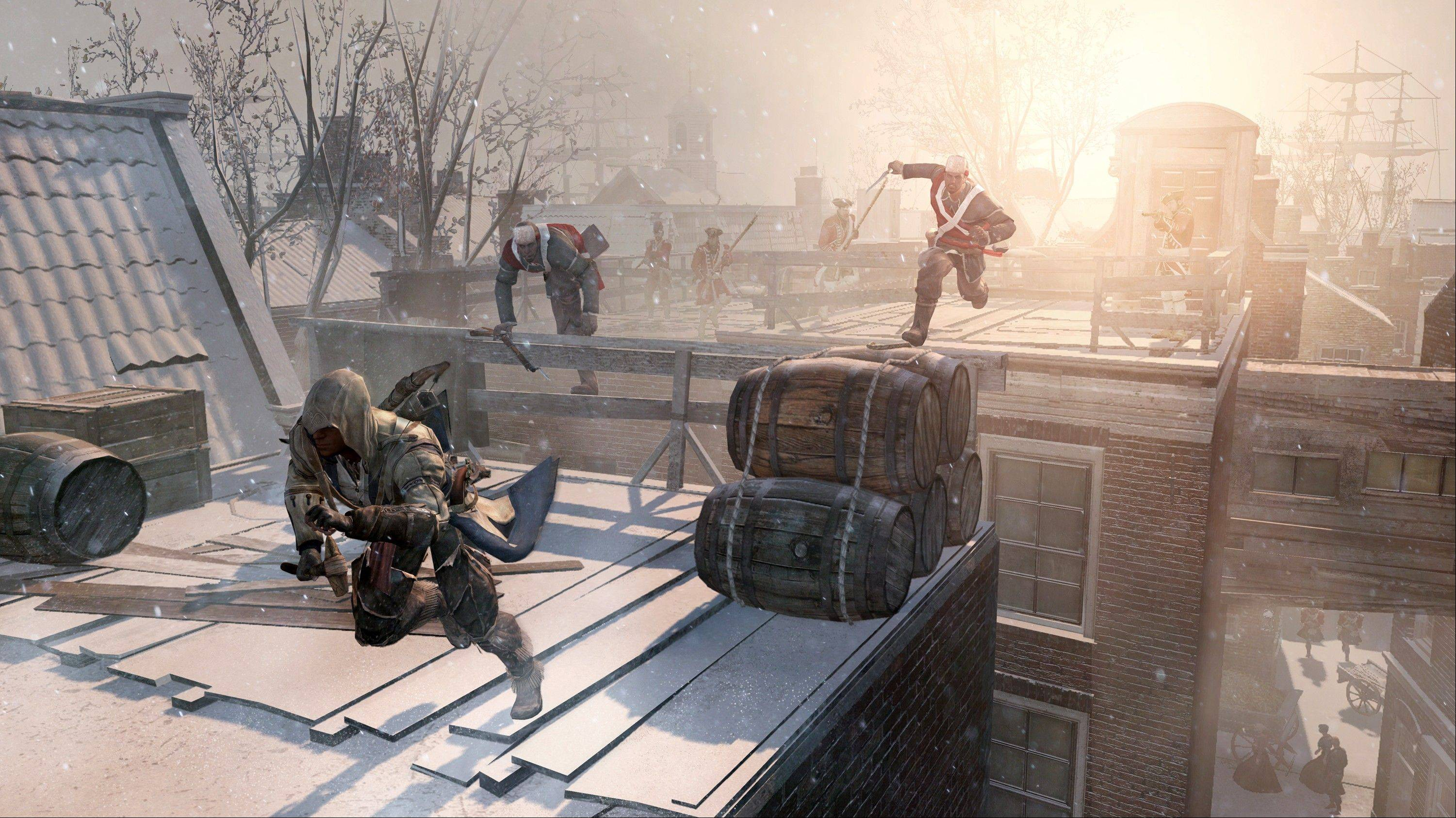 "An assassin flees across the rooftops of colonial New York in ""Assassin's Creed III."""