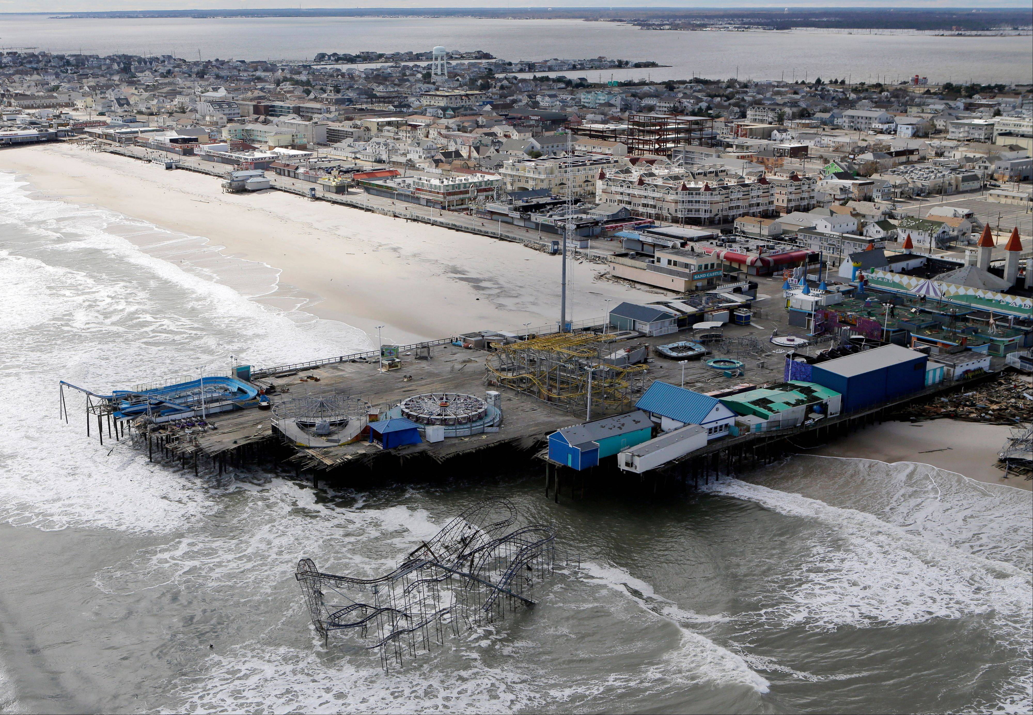 This aerial photo shows the damage to an amusement park in Seaside Heights, N.J., left in the wake of superstorm Sandy.
