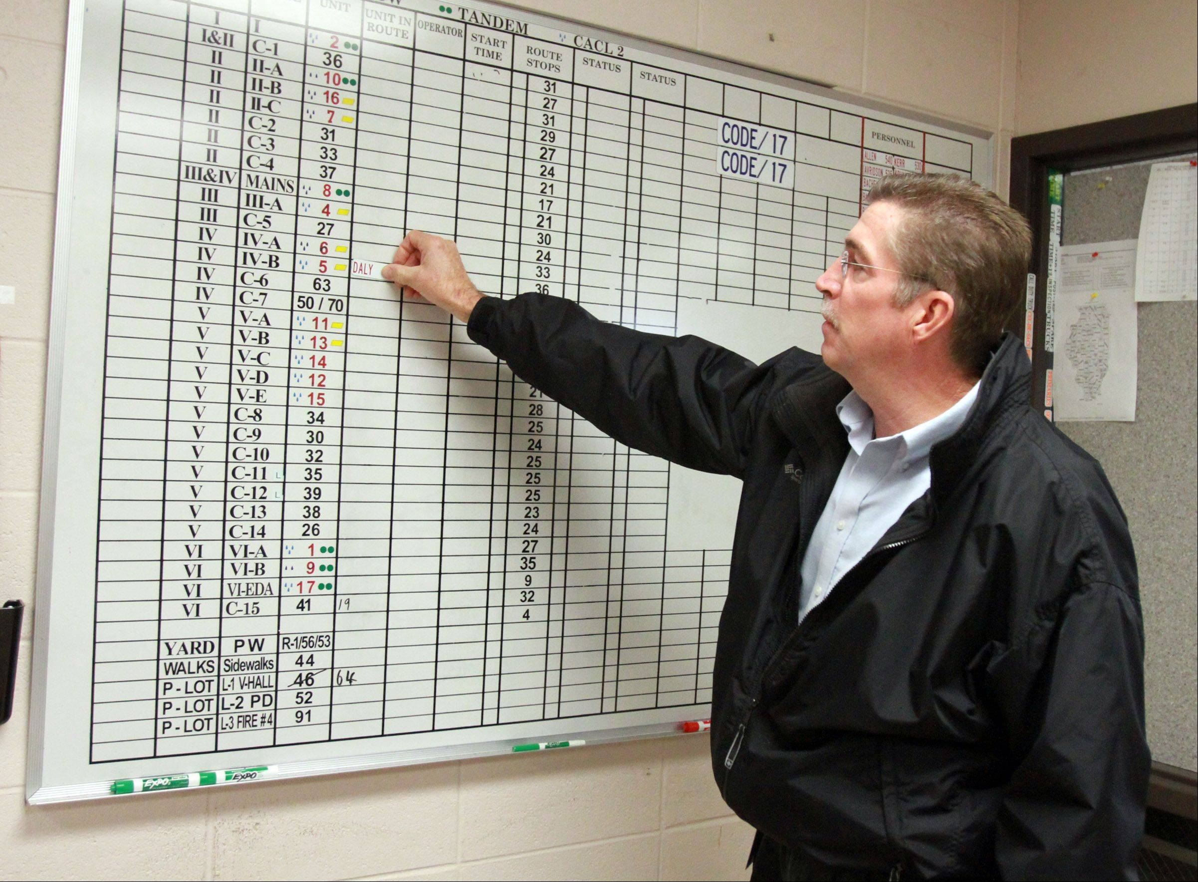 Kenneth Gomoll, assistant director of the Hoffman Estates Public Works Department, explains how the village keeps track of plow trucks during a training session Thursday.