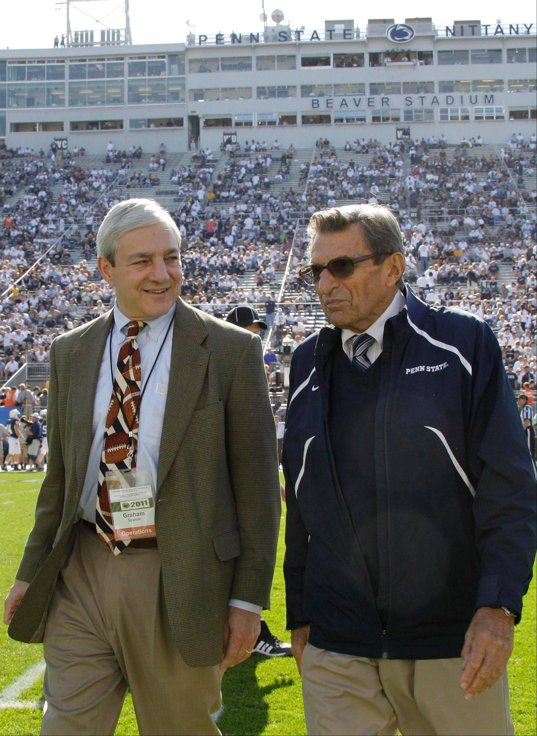 "Former Penn State president Graham Spanier, left, is accused of perjury, endangering children and other charges in the Jerry Sandusky molestation scandal. According to online court records charges were filed Thursday against Penn State's ex-president and two other administrators in what prosecutors called ""a conspiracy of silence."""