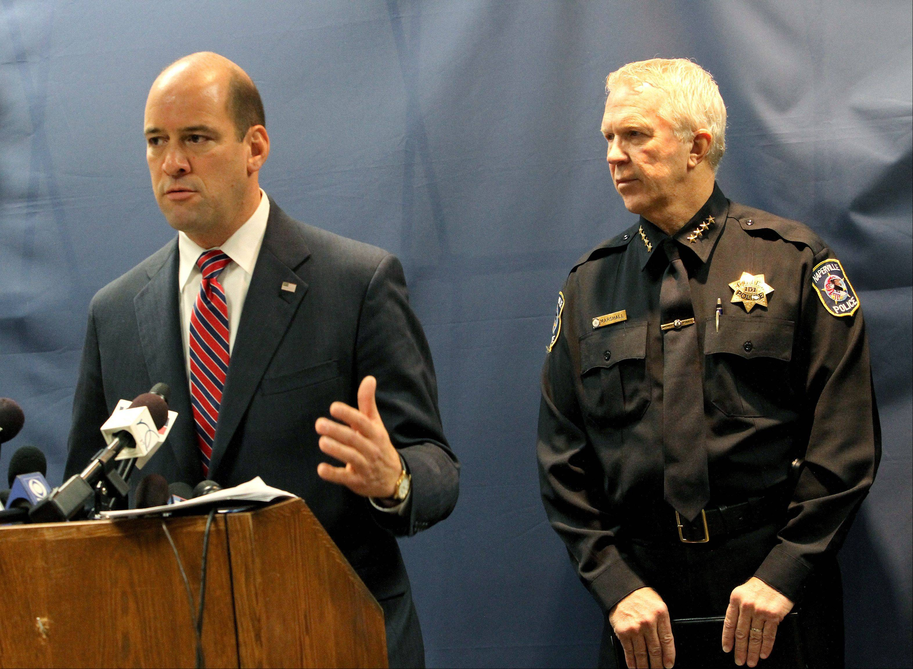DuPage State's Attorney Robert Berlin and Naperville Police Chief Robert Marshall discuss the case Thursday following a bond hearing for Elzbieta Plackowska, accused of murdering two children.