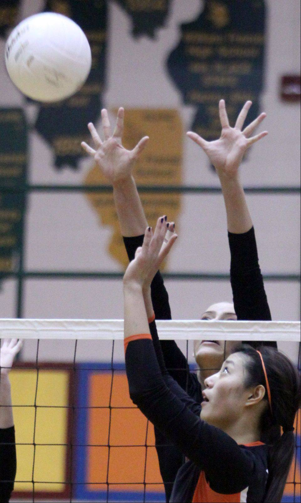 Libertyville's Cindy Zhou prepares to set the volleyball against Palatine during sectional title action at Fremd on Thursday night.