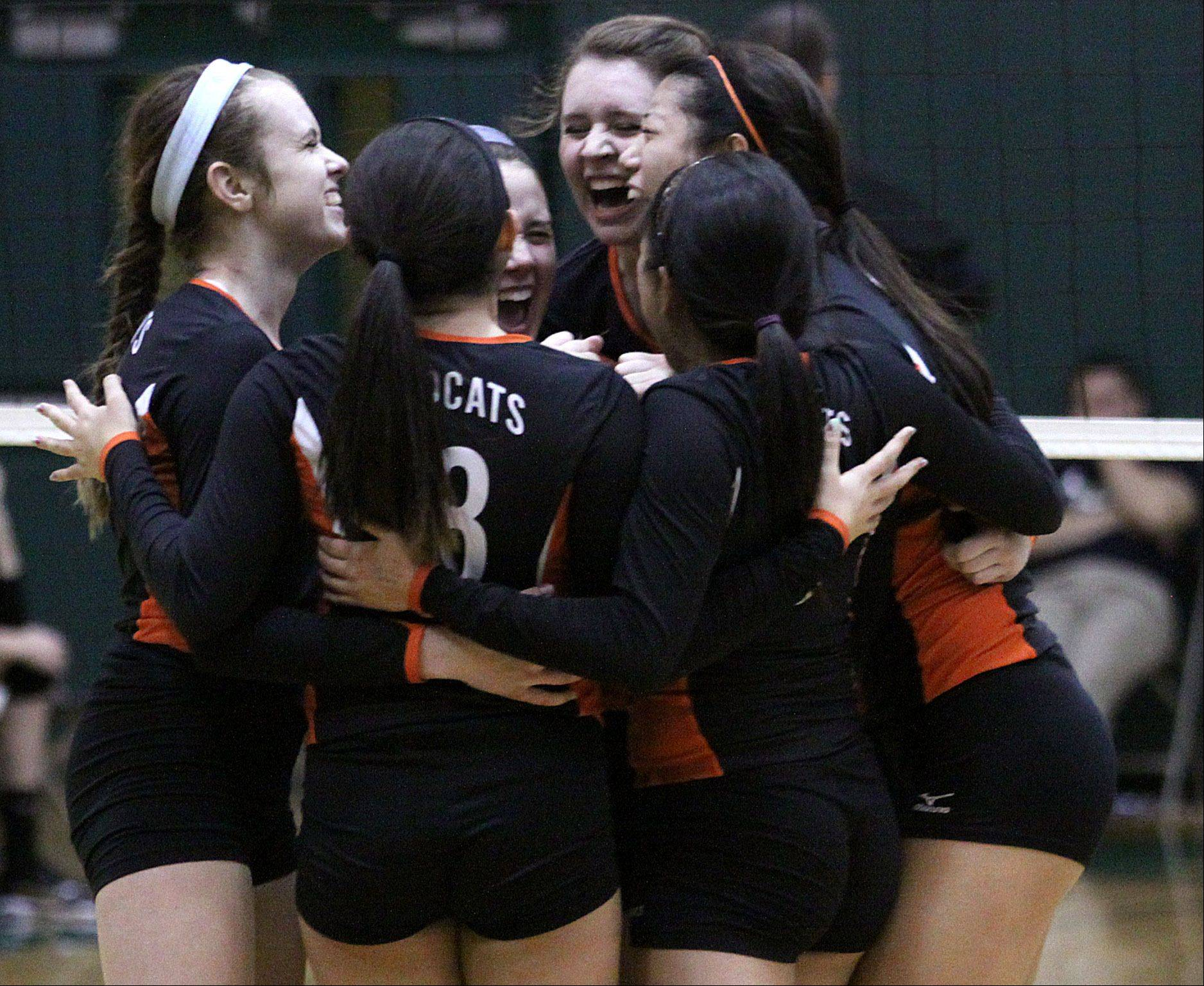 Libertyville players celebrate a win over Palatine in sectional final play Fremd on Thursday.