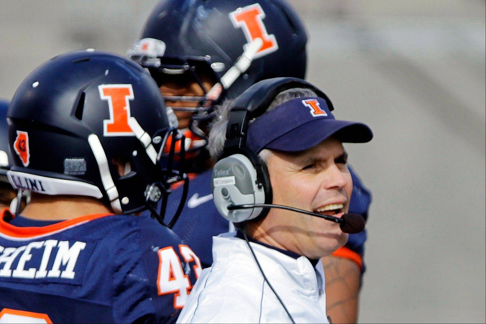 Illinois head coach Tim Beckman watches from the sidelines Saturday during the second half against Indiana in Champaign. Illinois will try to break their five-game losing streak on the road Saturday against Ohio State.