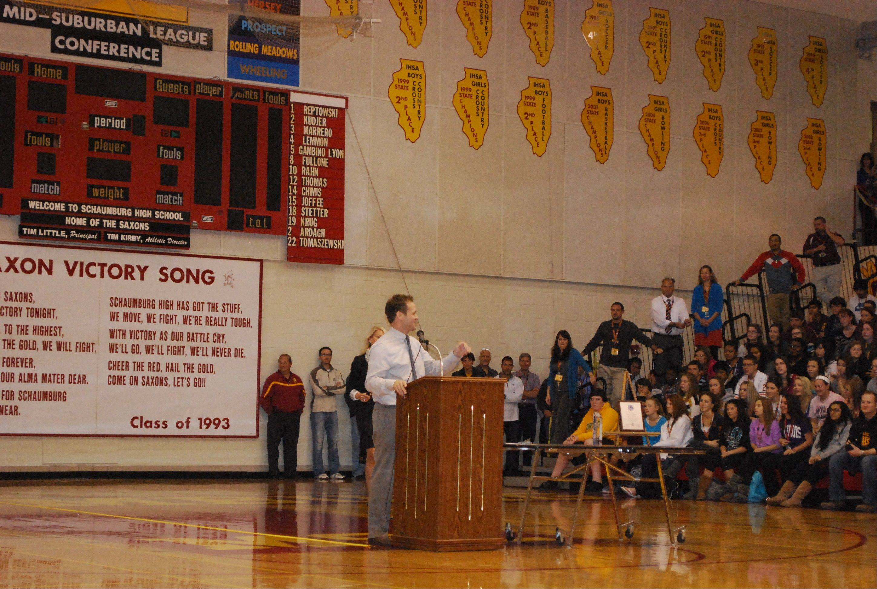Brian Curtin addresses Schaumburg High School students and staff after being named the 2012-2013 Illinois Teacher of the Year.