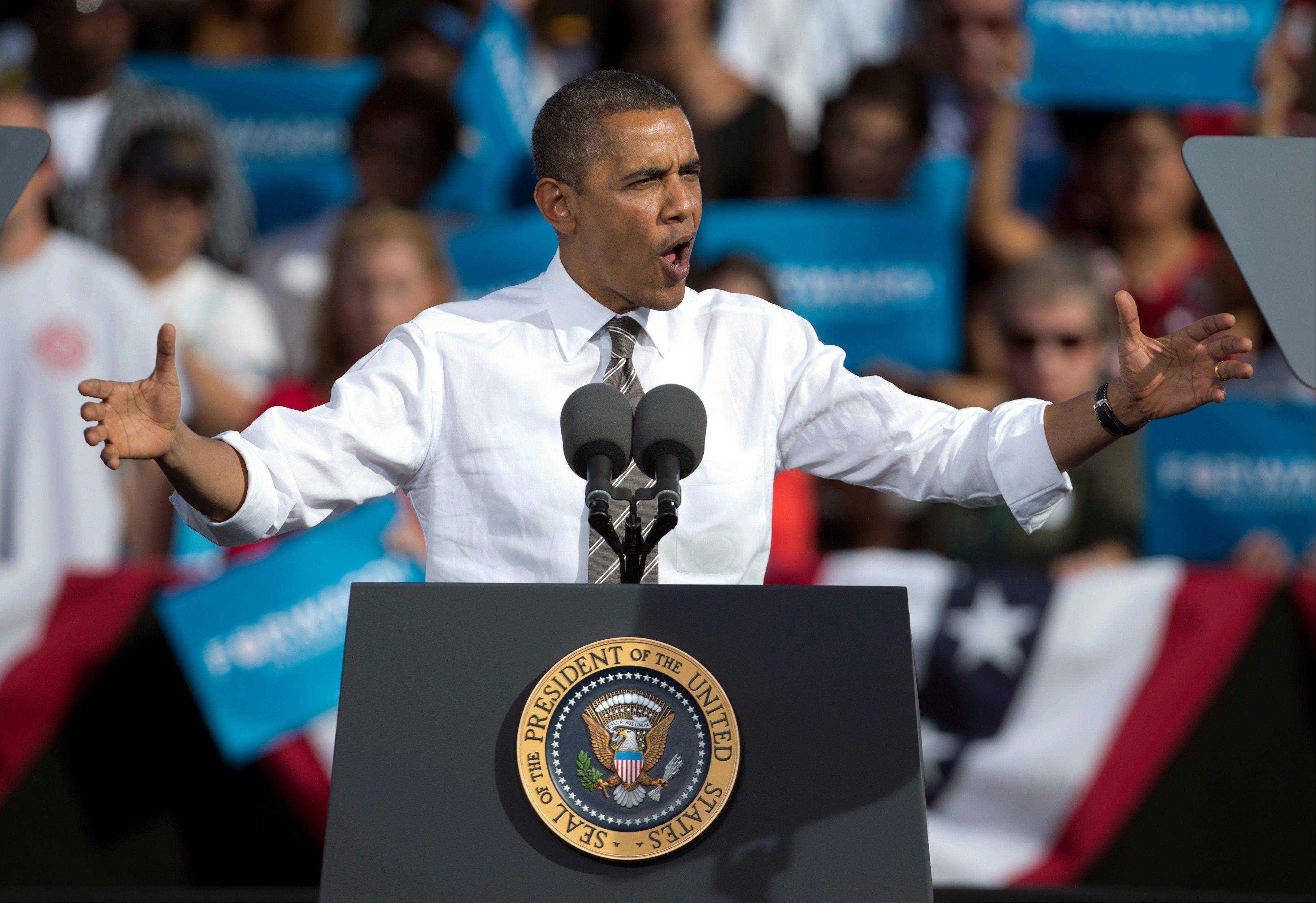 President Barack Obama speaks Thursday during a campaign eventat the Cheyenne Sports Complex in Las Vegas.