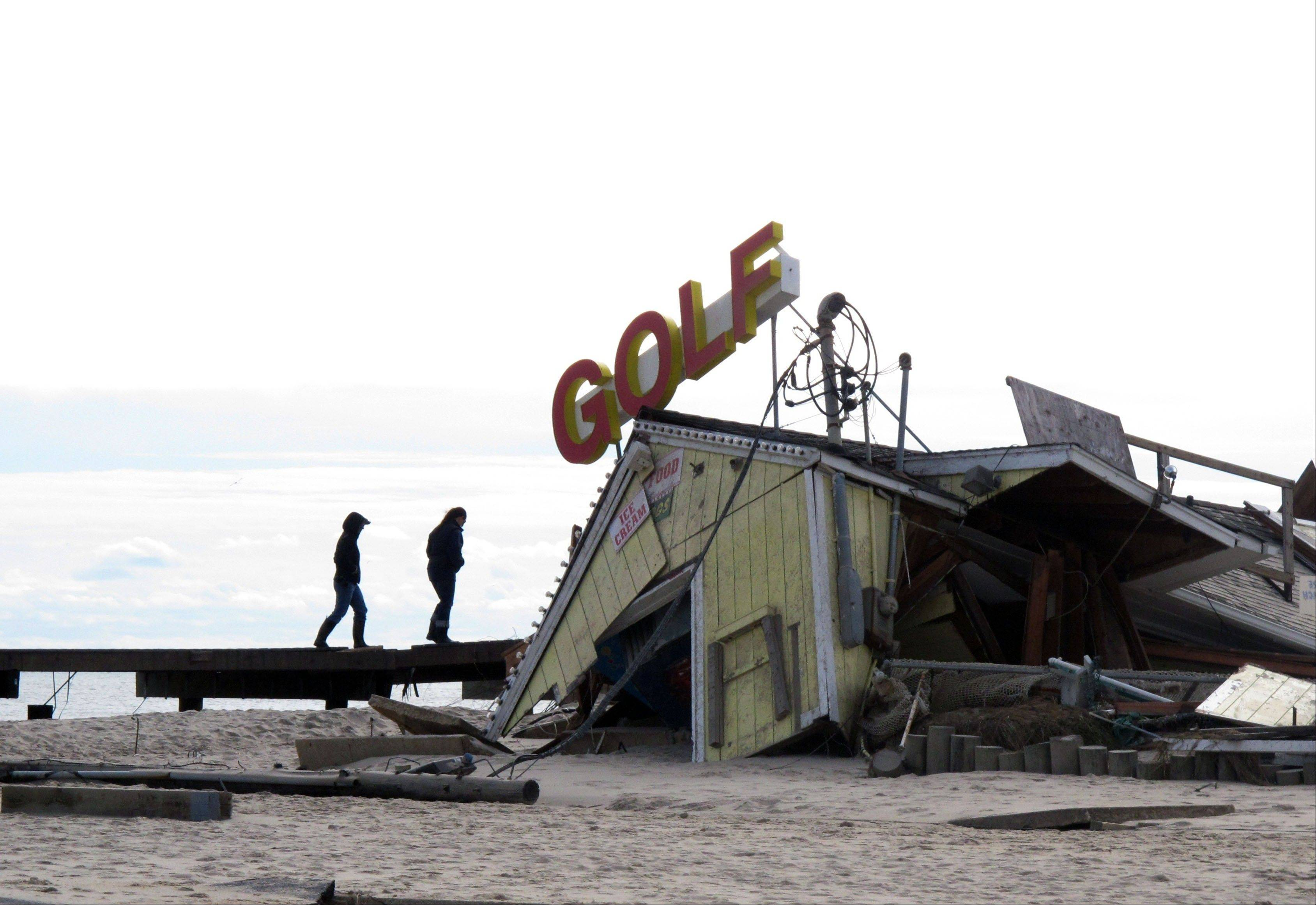 A mini-golf course on the boardwalk in Point Pleasant Beach N.J., was destroyed by Hurricane Sandy.