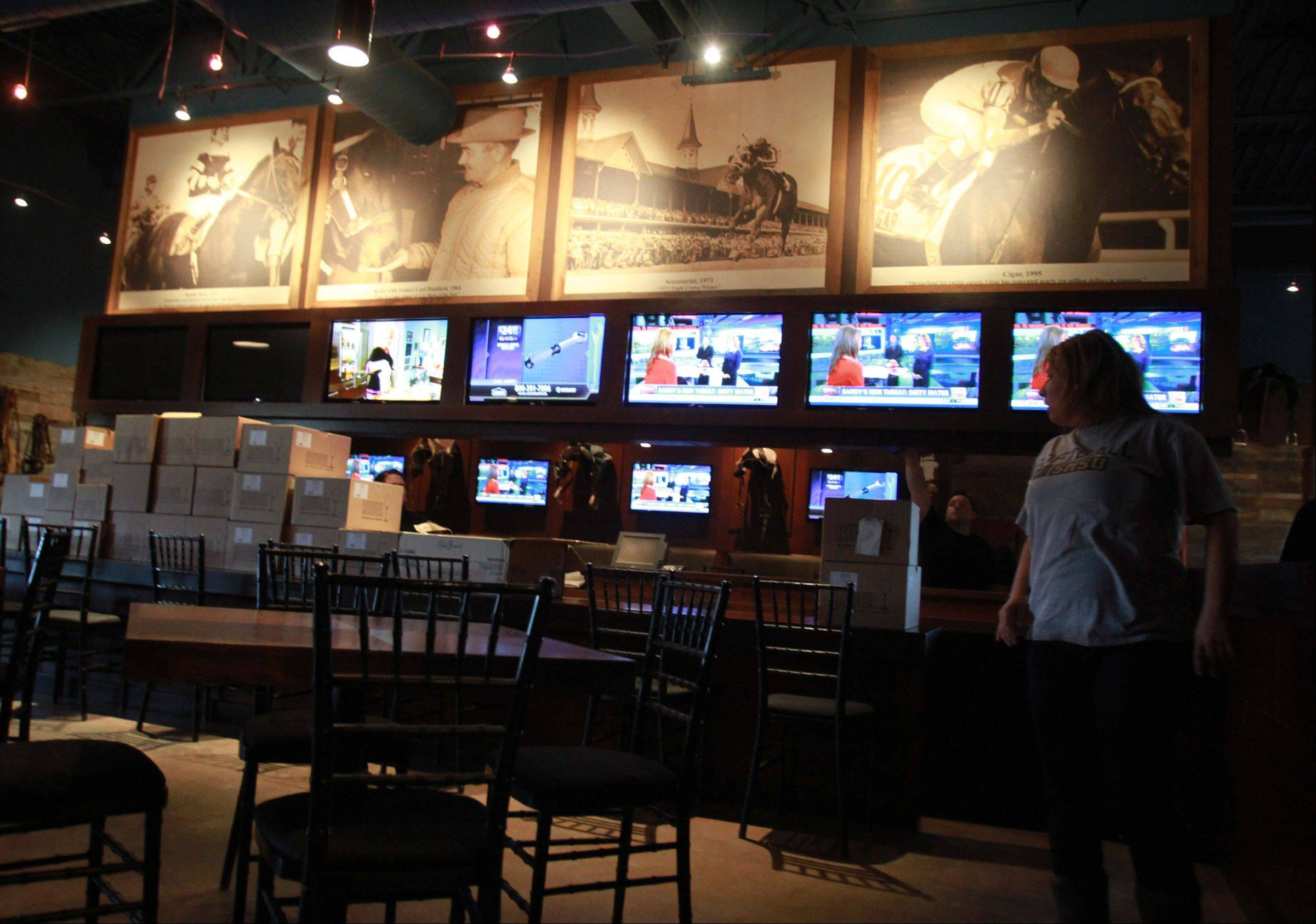 The bar area of The Saddle Room, a new off-track betting parlor and restaurant at 2559 Pratum Ave. in Hoffman Estates that opens Friday.