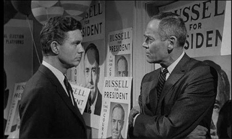 "Two presidential nominees (Cliff Robertson and Henry Fonda) hit below the belt when campaigning in ""The Best Man."""