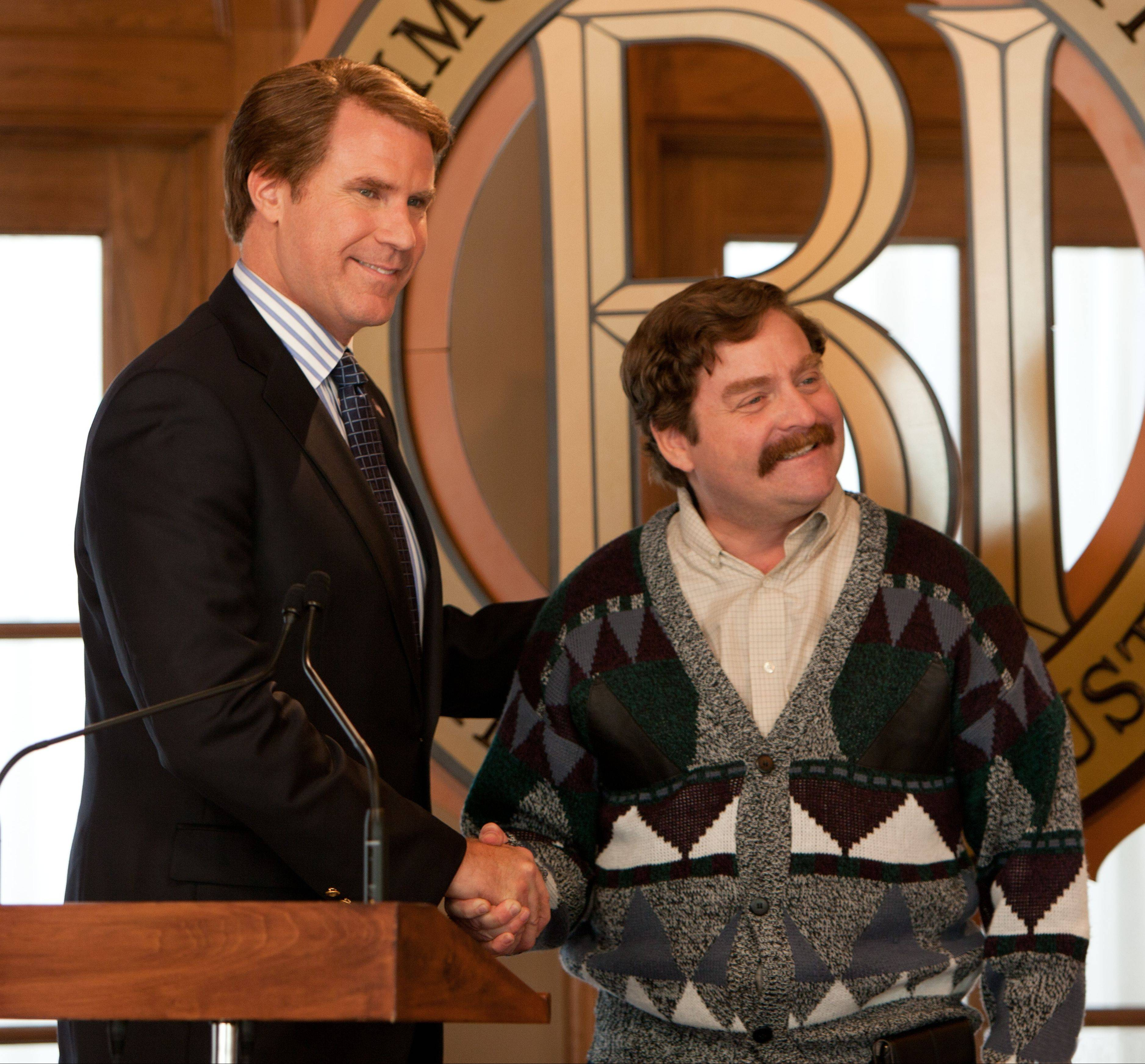 "Democratic Congressman Cam Brady (Will Ferrell), left, meets his Republican challenger Marty Huggins (Zach Galifianakis) in ""The Campaign."""